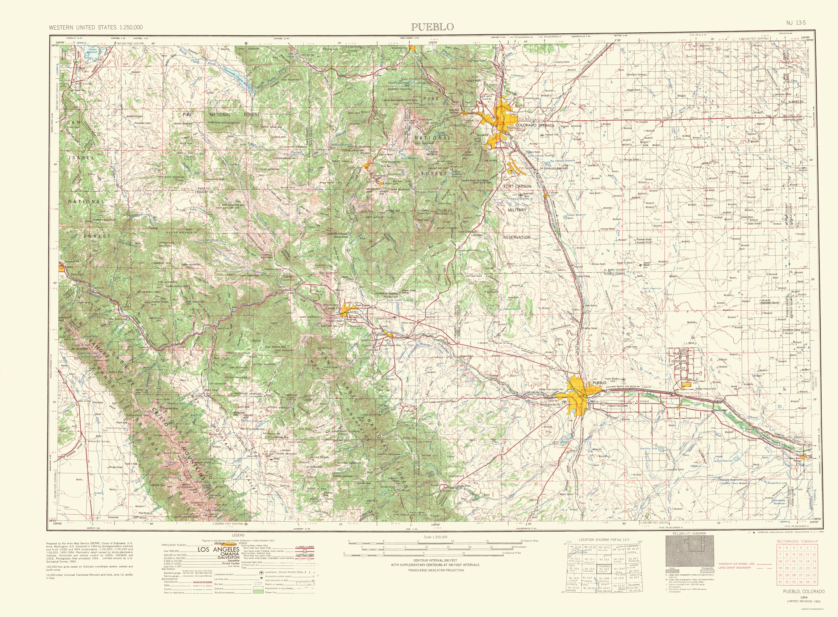 Old Topographical Map - Pueblo Colorado 1966
