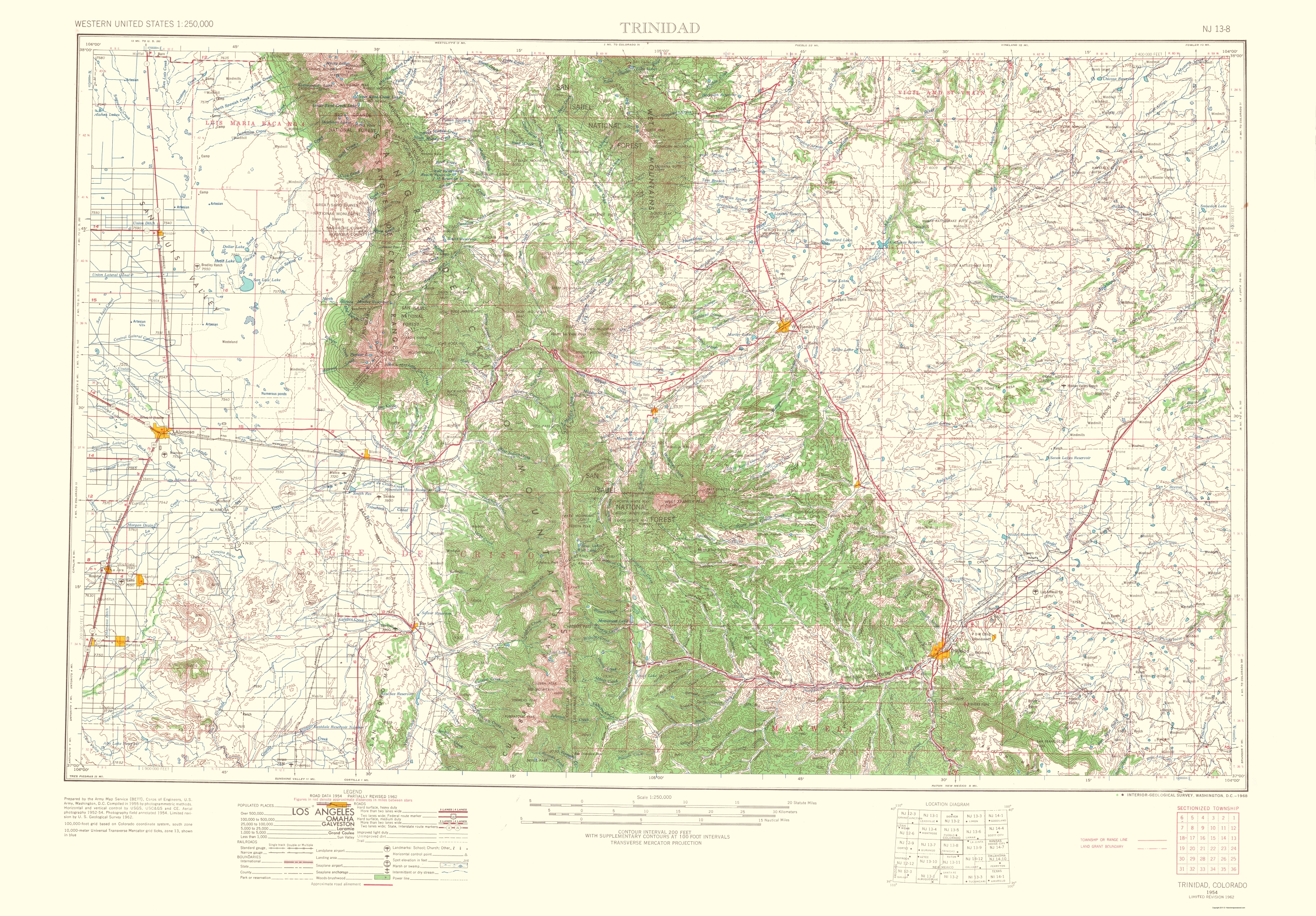 Old Topographical Map Trinidad Colorado 1954