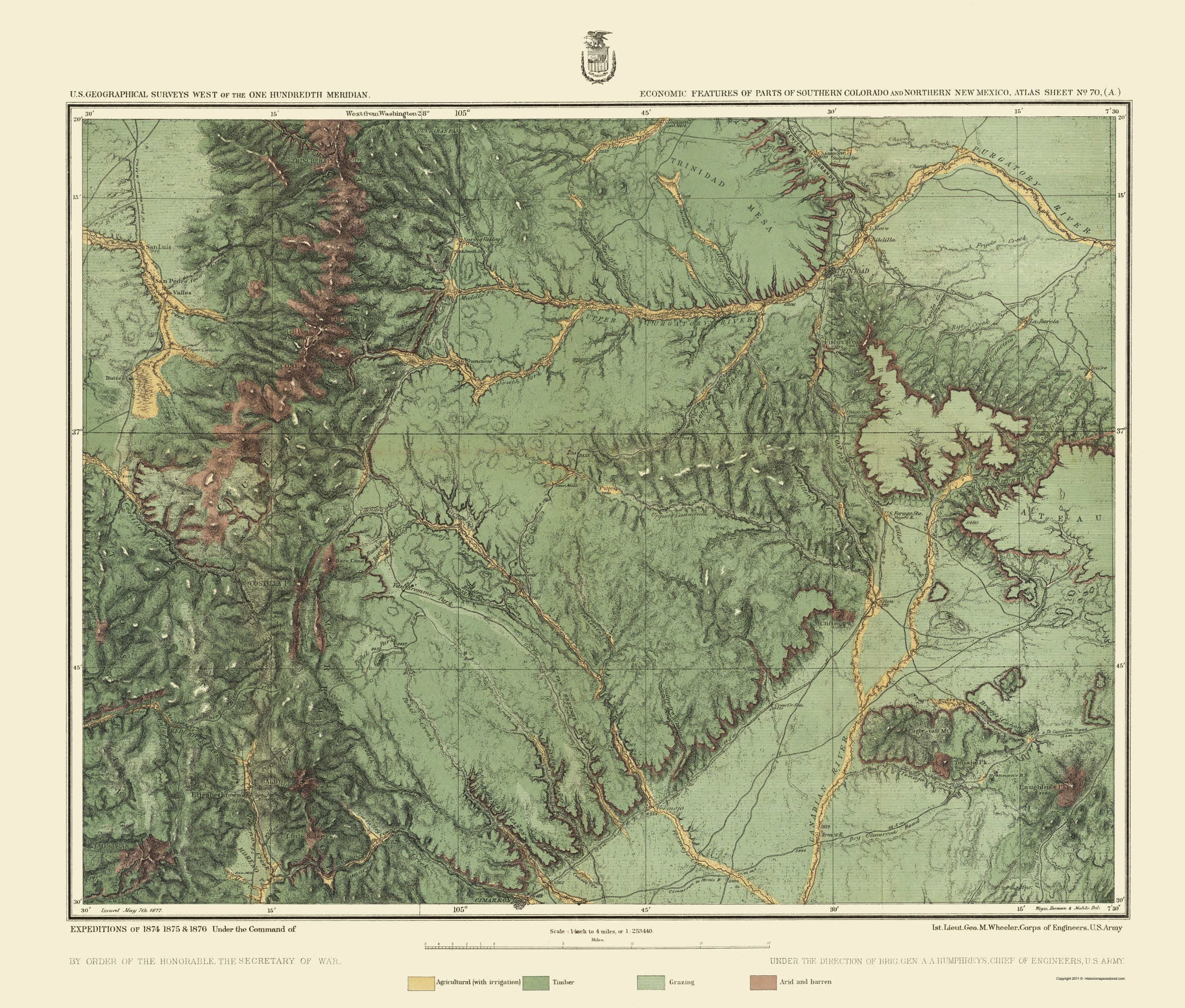 Old Map - Colorado, New Mexico 1876