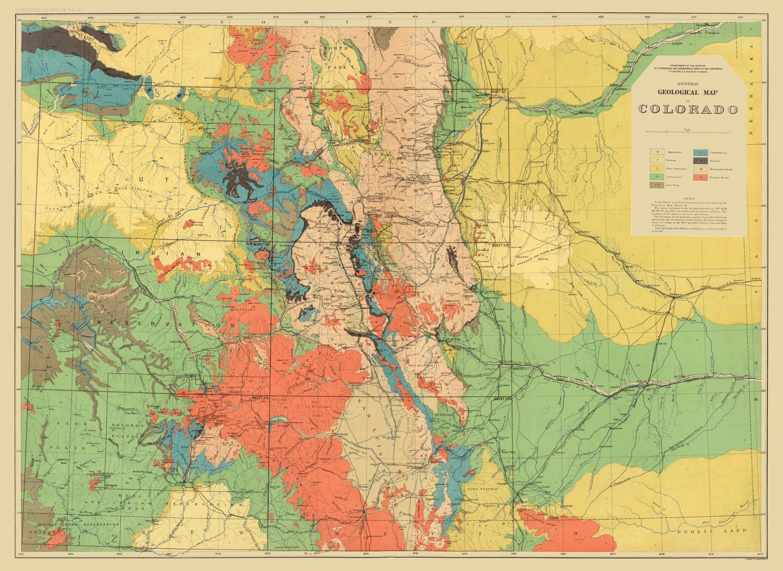 Old Topographical Map - Colorado Colorado 1881