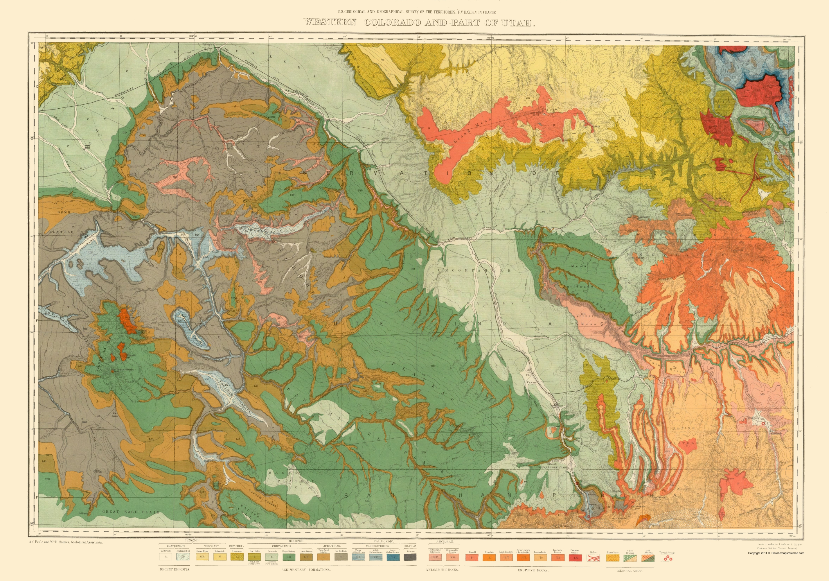Old Topographical Map - West Colorado, Utah 1881