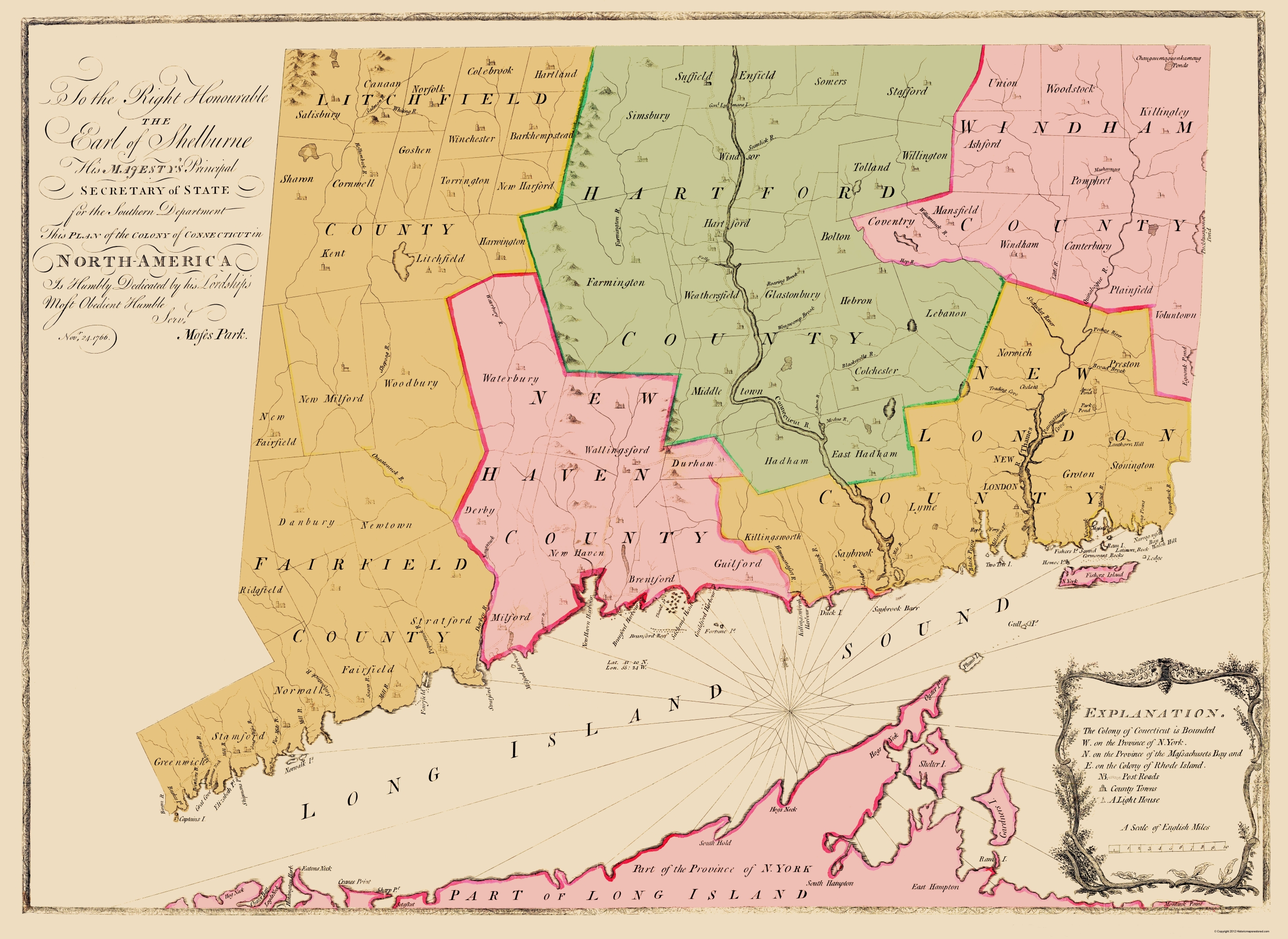 Old State Map Connecticut Colony - Conneticut map