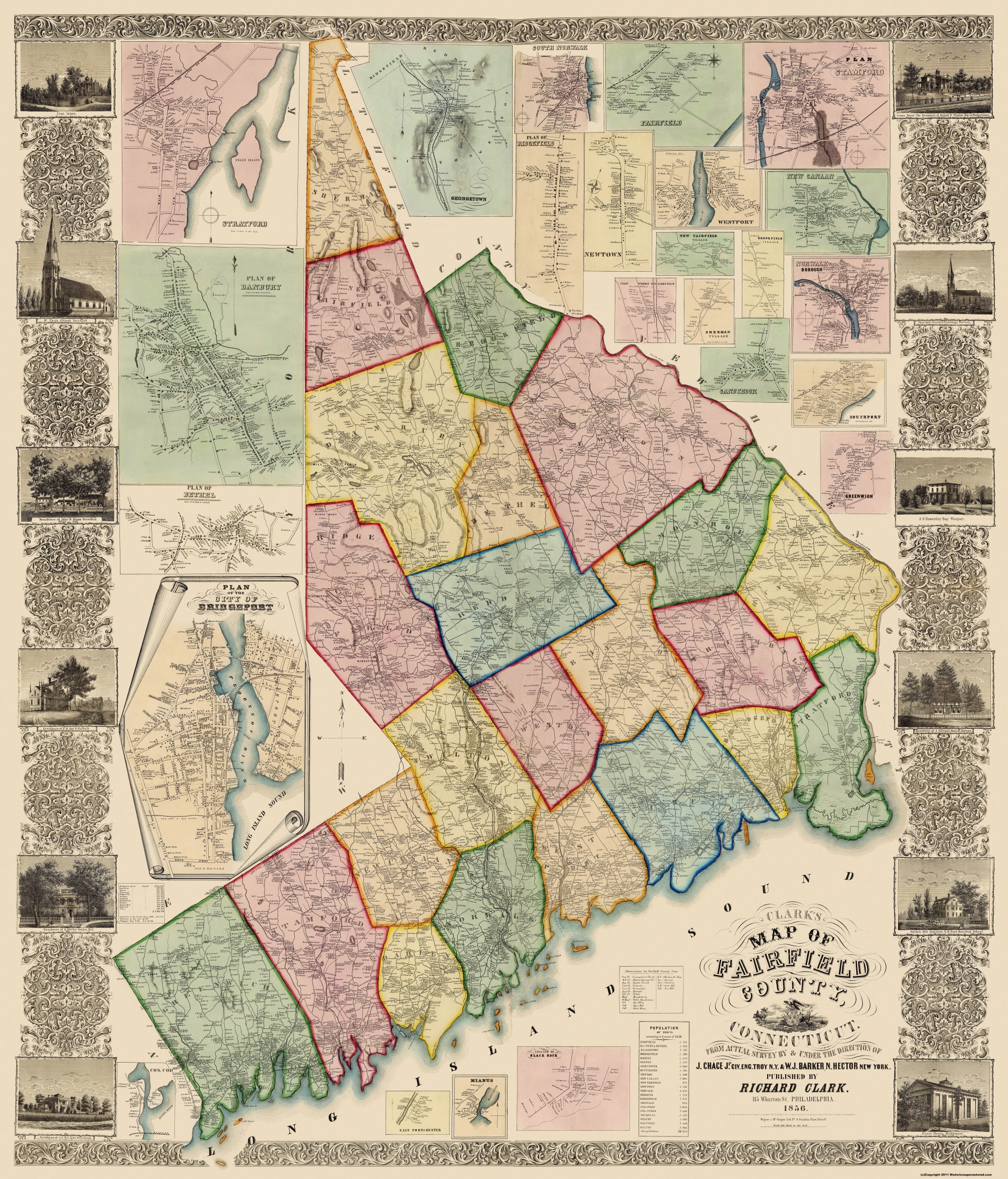 Old County Map - Fairfield Connecticut Landowner - 1856