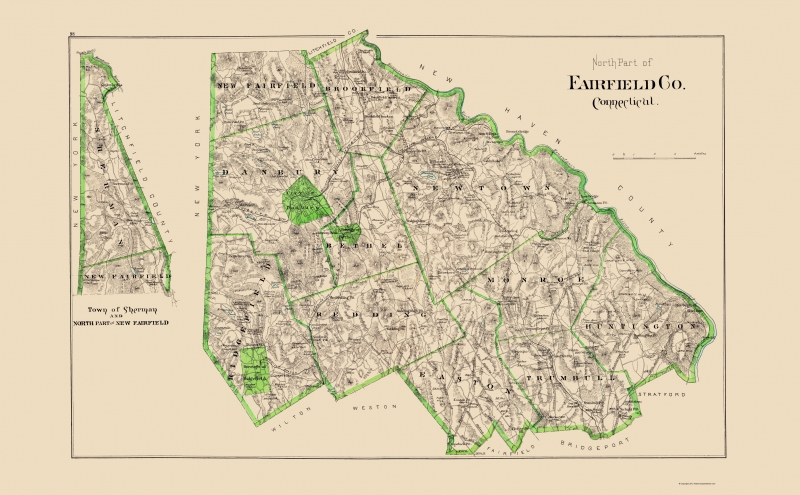 Old County Map - Fairfield, North Connecticut - Hurd 1893 - 23 x 37.16
