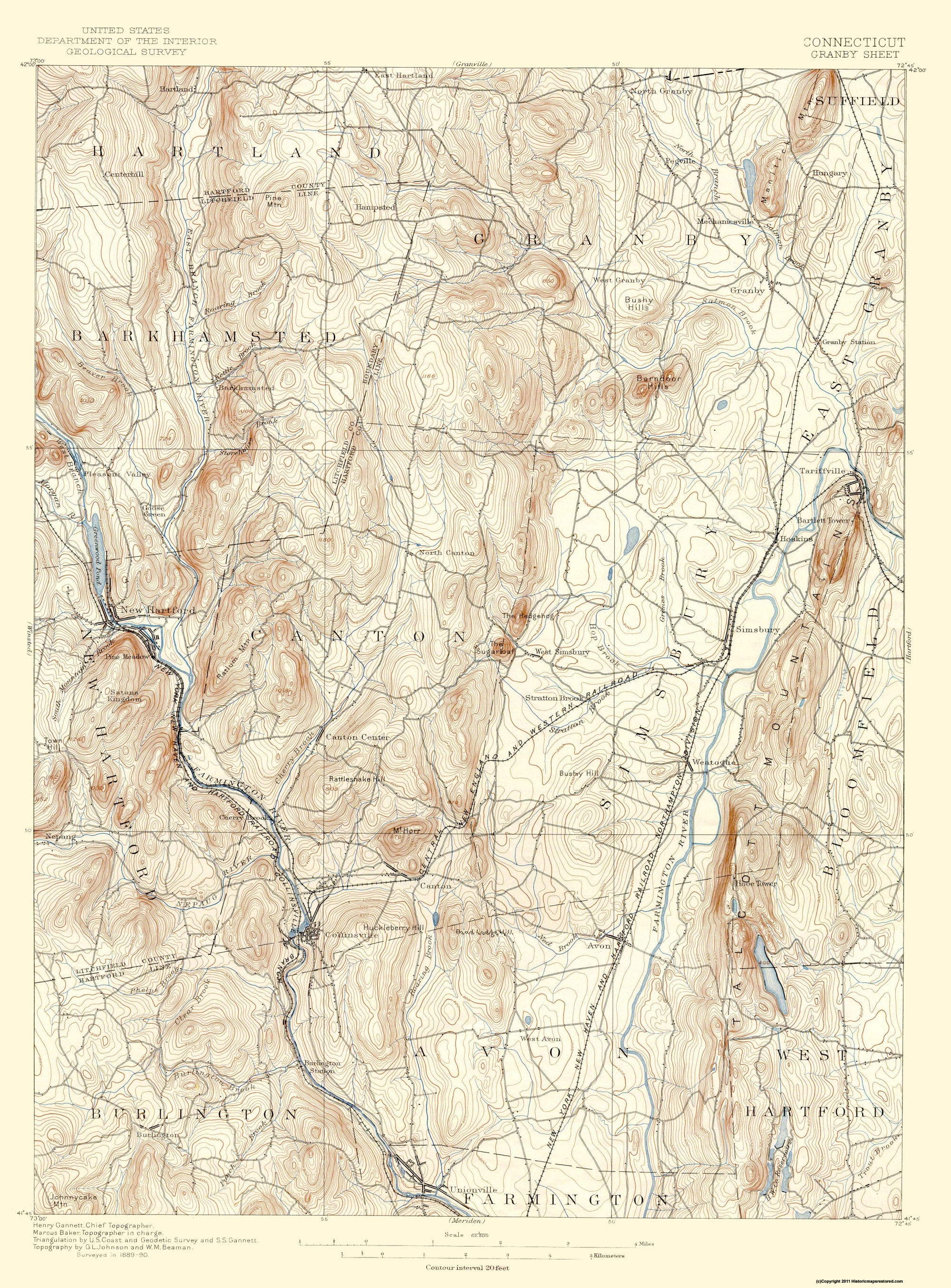 Topographic Map Ct.Old Topographical Map Granby Connecticut 1892