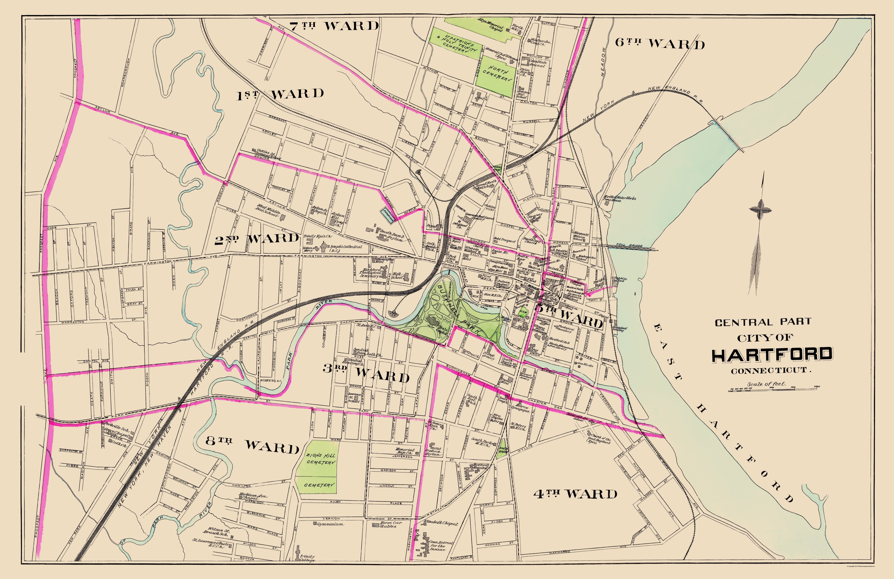 Old City Map Hartford Connecticut Central Part 1893