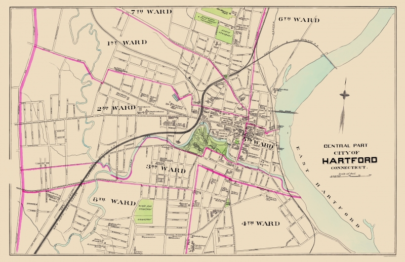 Hartford, Connecticut Street Map - GM Johnson Maps