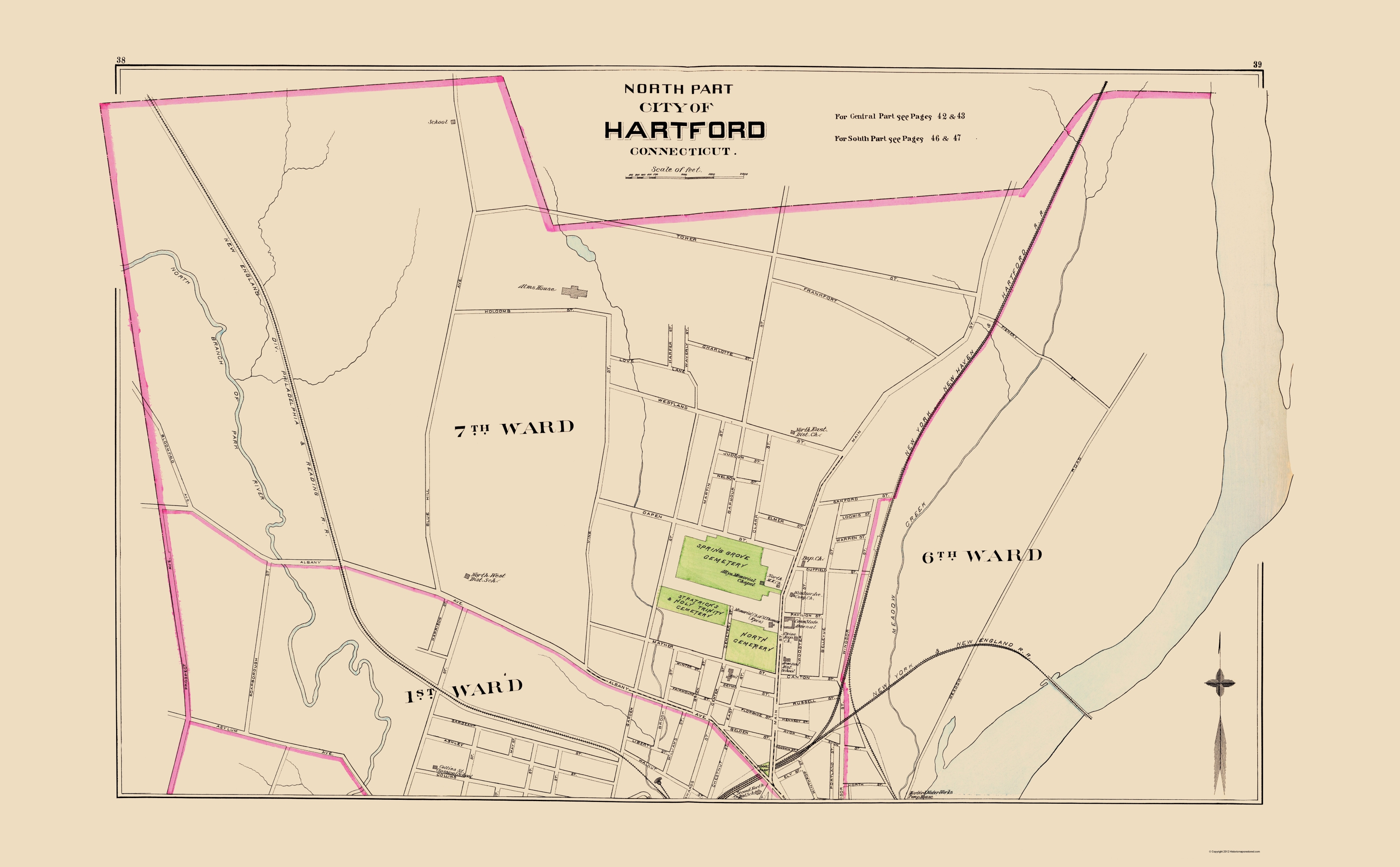 Old City Map - Hartford Connecticut North Part 1893