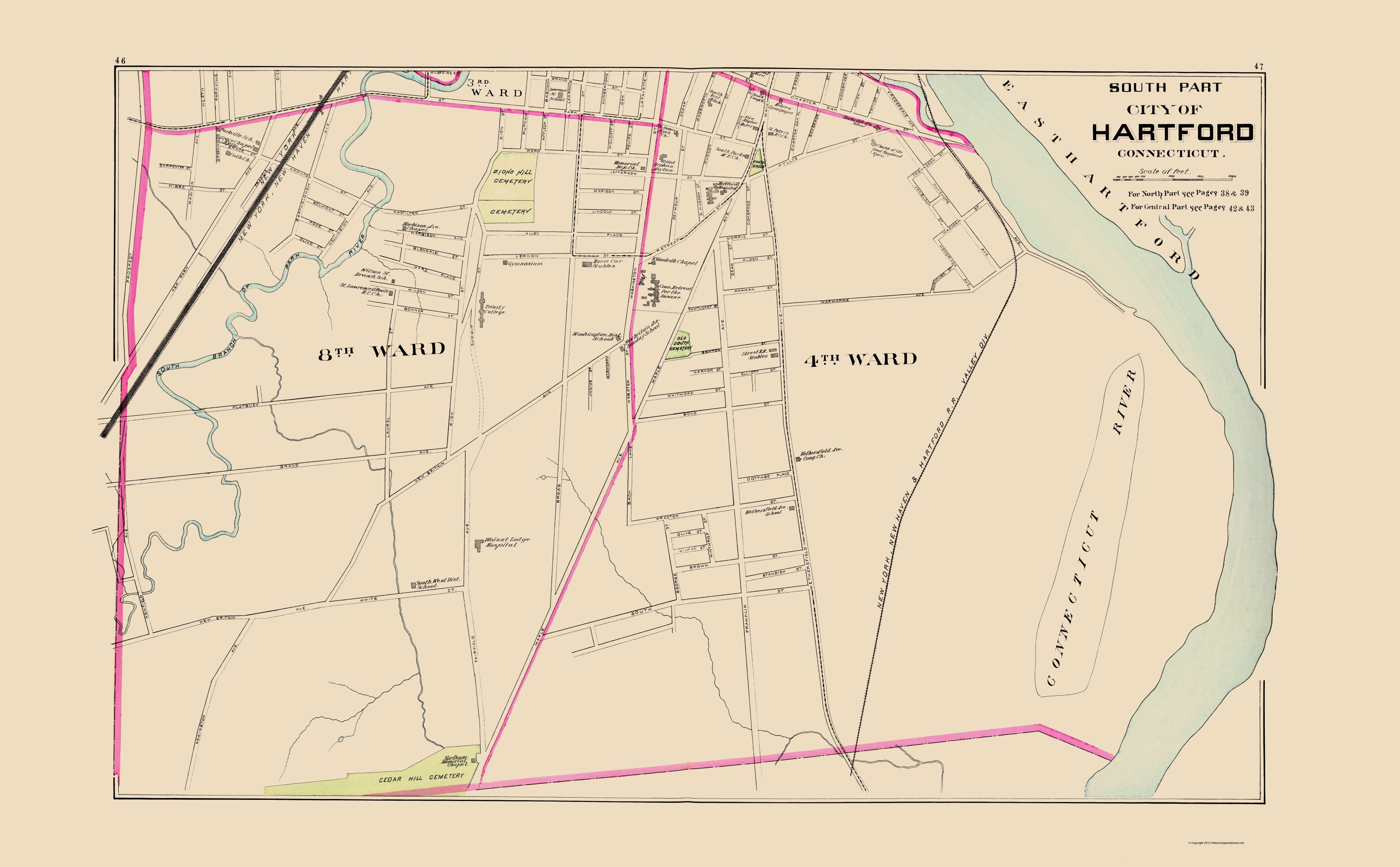Old City Map - Hartford Connecticut South Part 1893