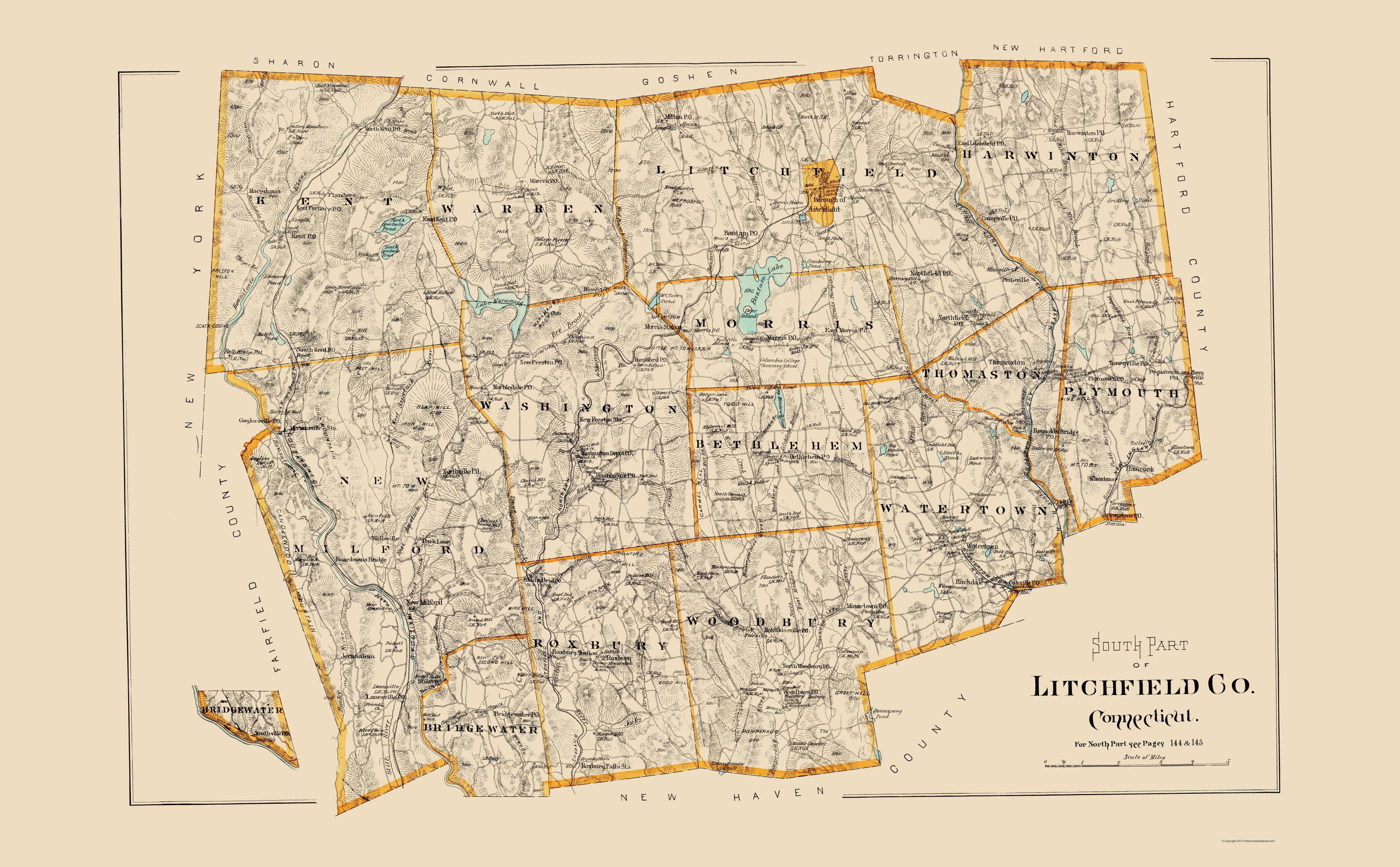 Old County Map - Litchfield Connecticut - Hurd 1893