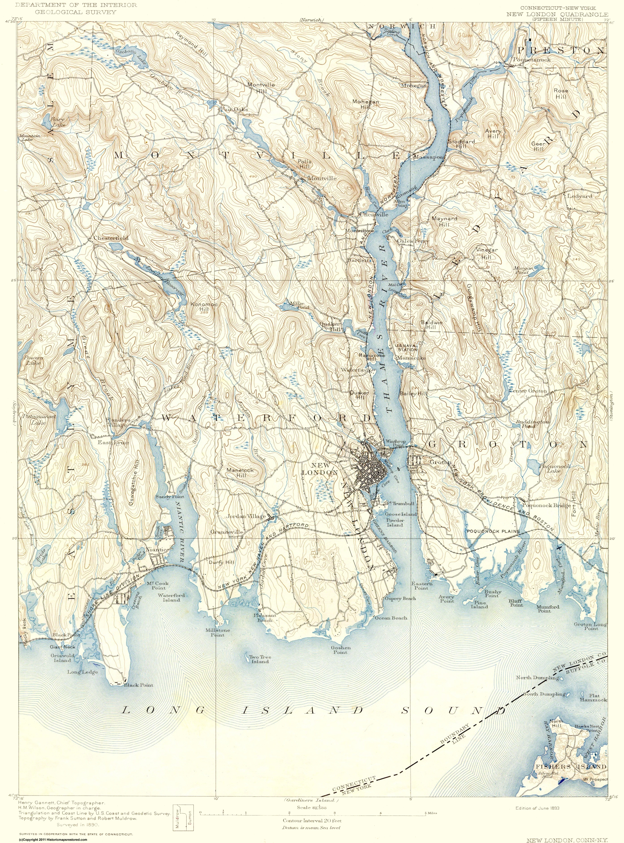 Topographical Map New London Connecticut New York 1893