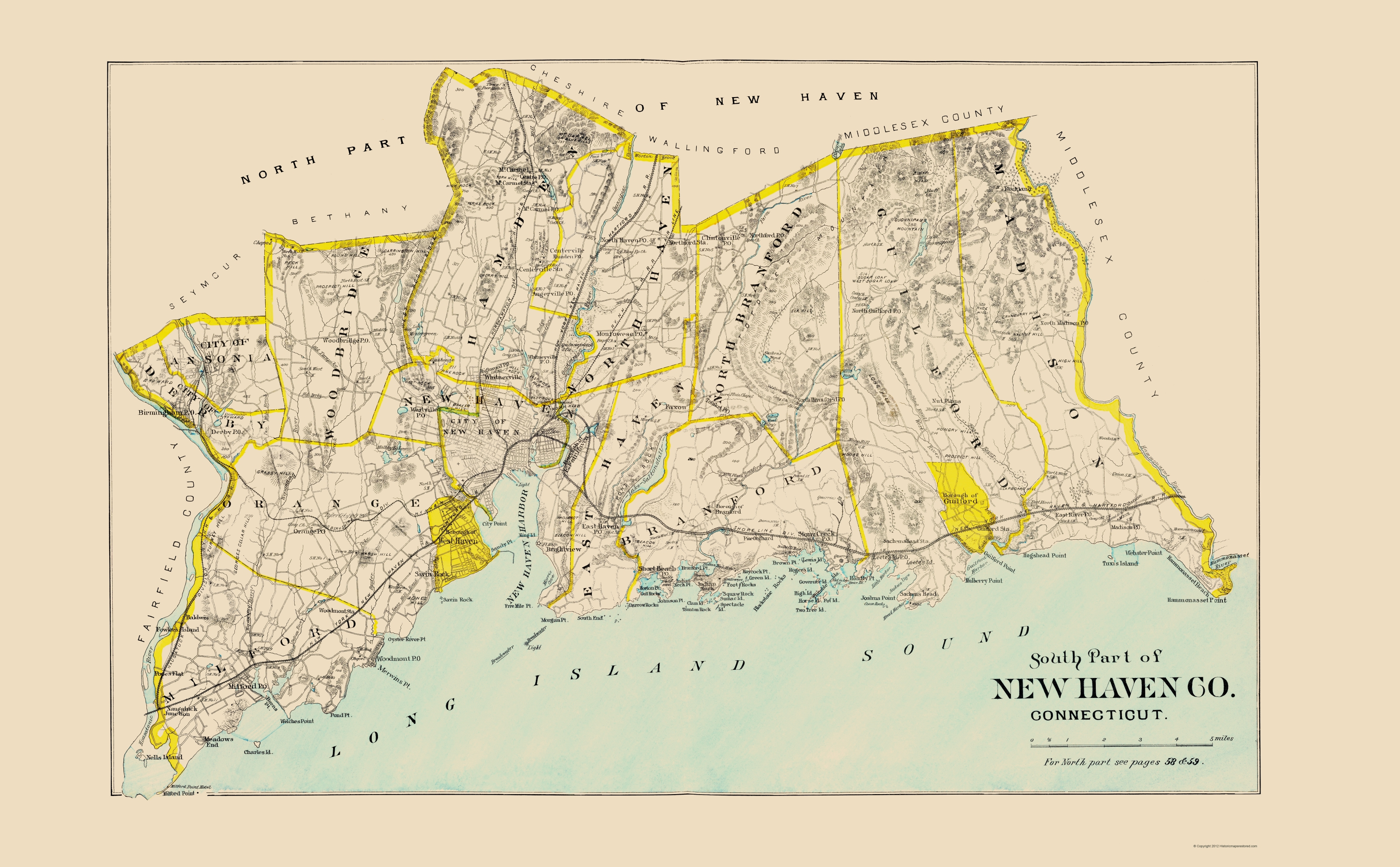 Old County Map - New Haven, South Connecticut - Hurd 1893