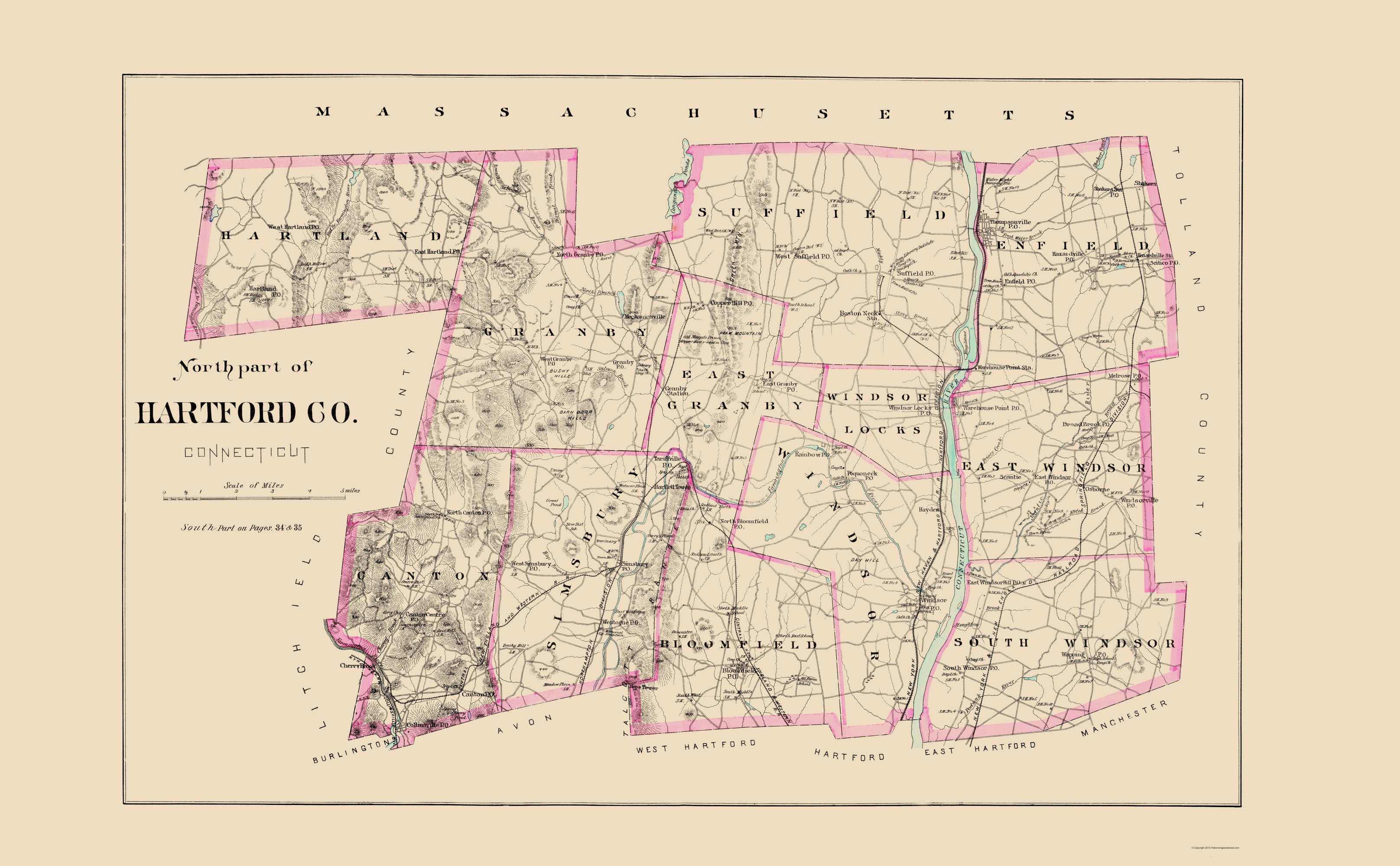 Old County Map - Hartford, North Connecticut - Hurd 1893 - 23 x 37.16