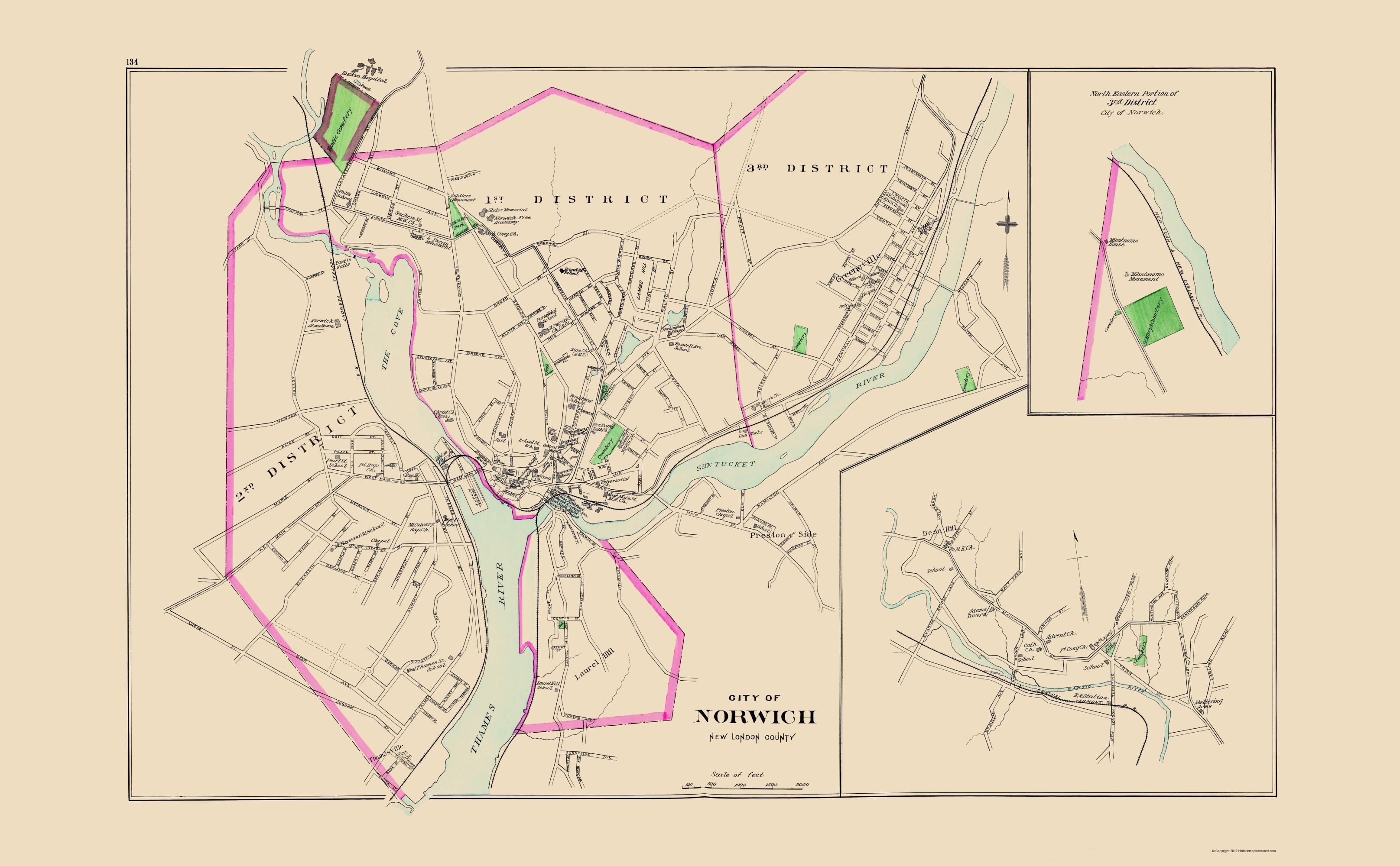 Old City Map - Norwich Connecticut - Hurd 1893
