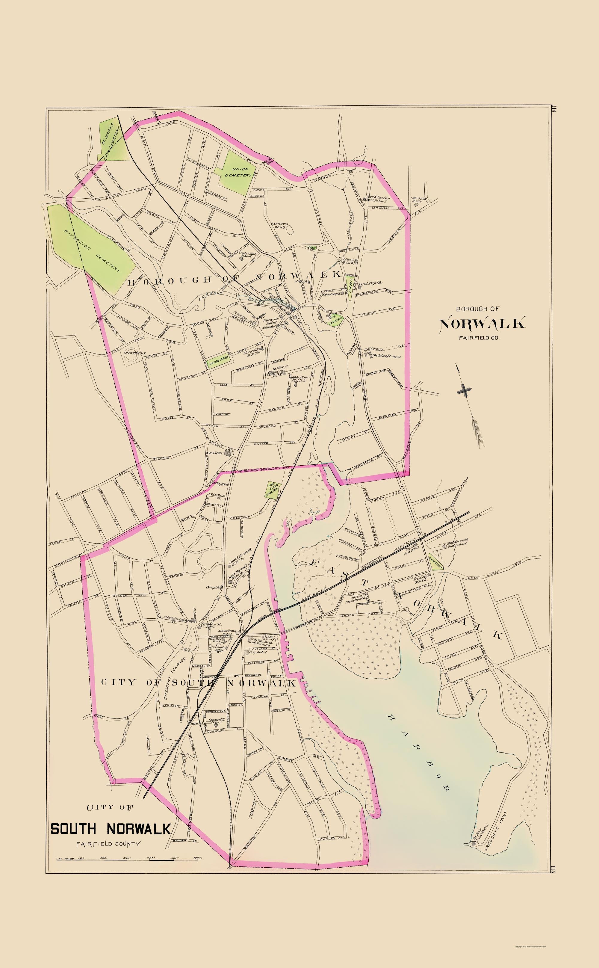 Old City Map - Norwalk, South Norwalk Connecticut 1893