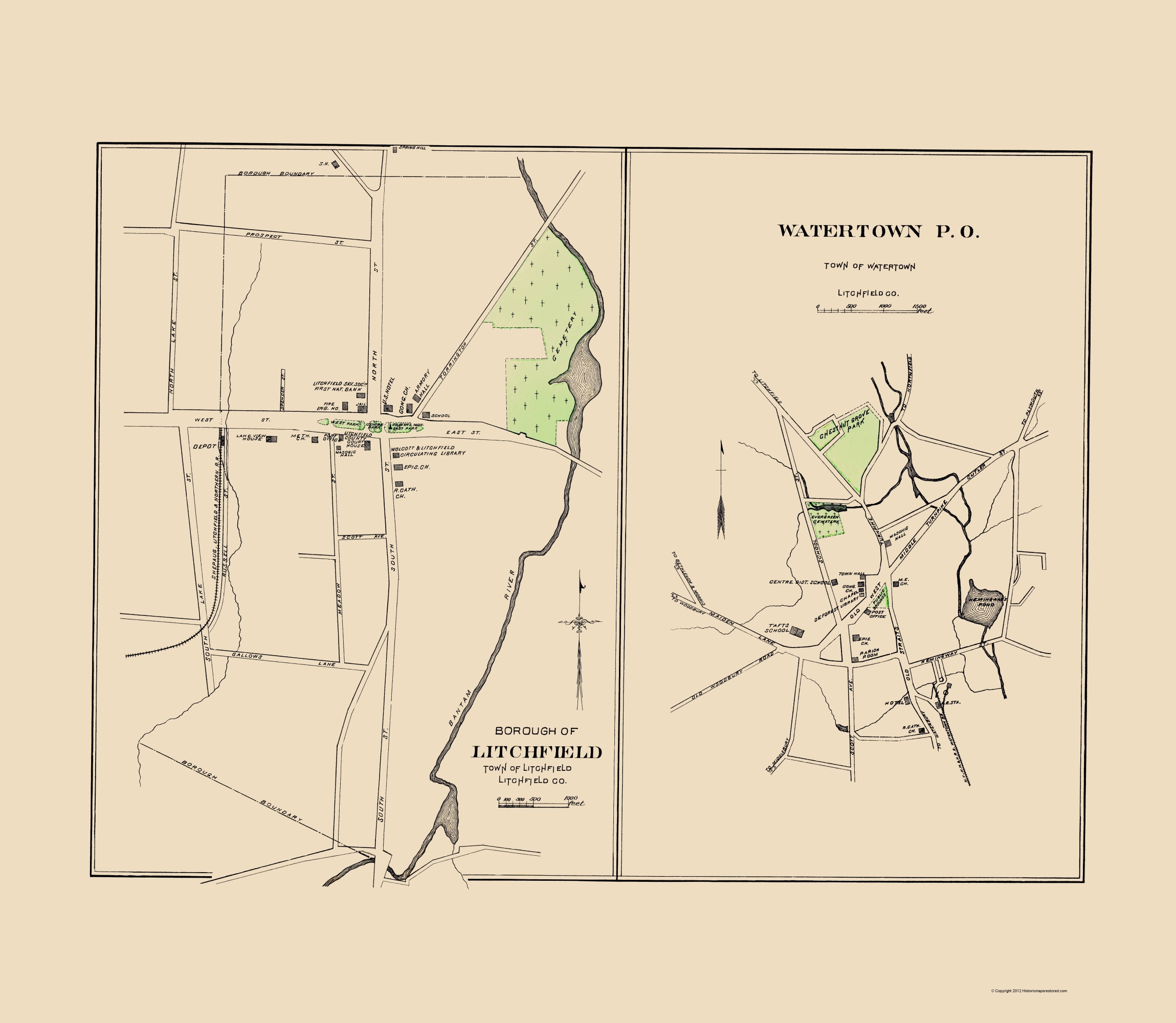 Old City Map - Watertown, Litchfield Connecticut 1893