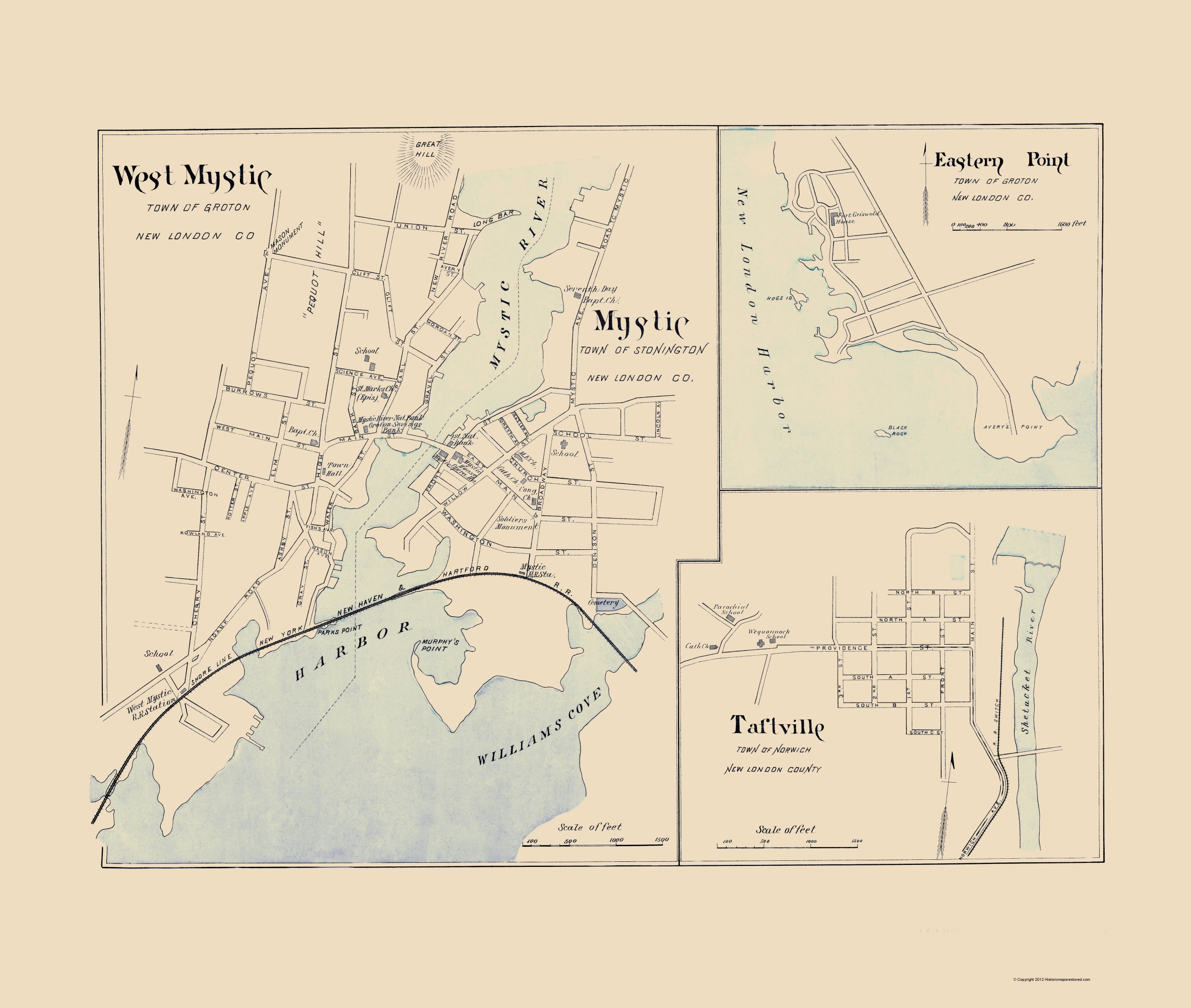 Old city map west mystic connecticut hurd 1893 double tap to zoom publicscrutiny Image collections