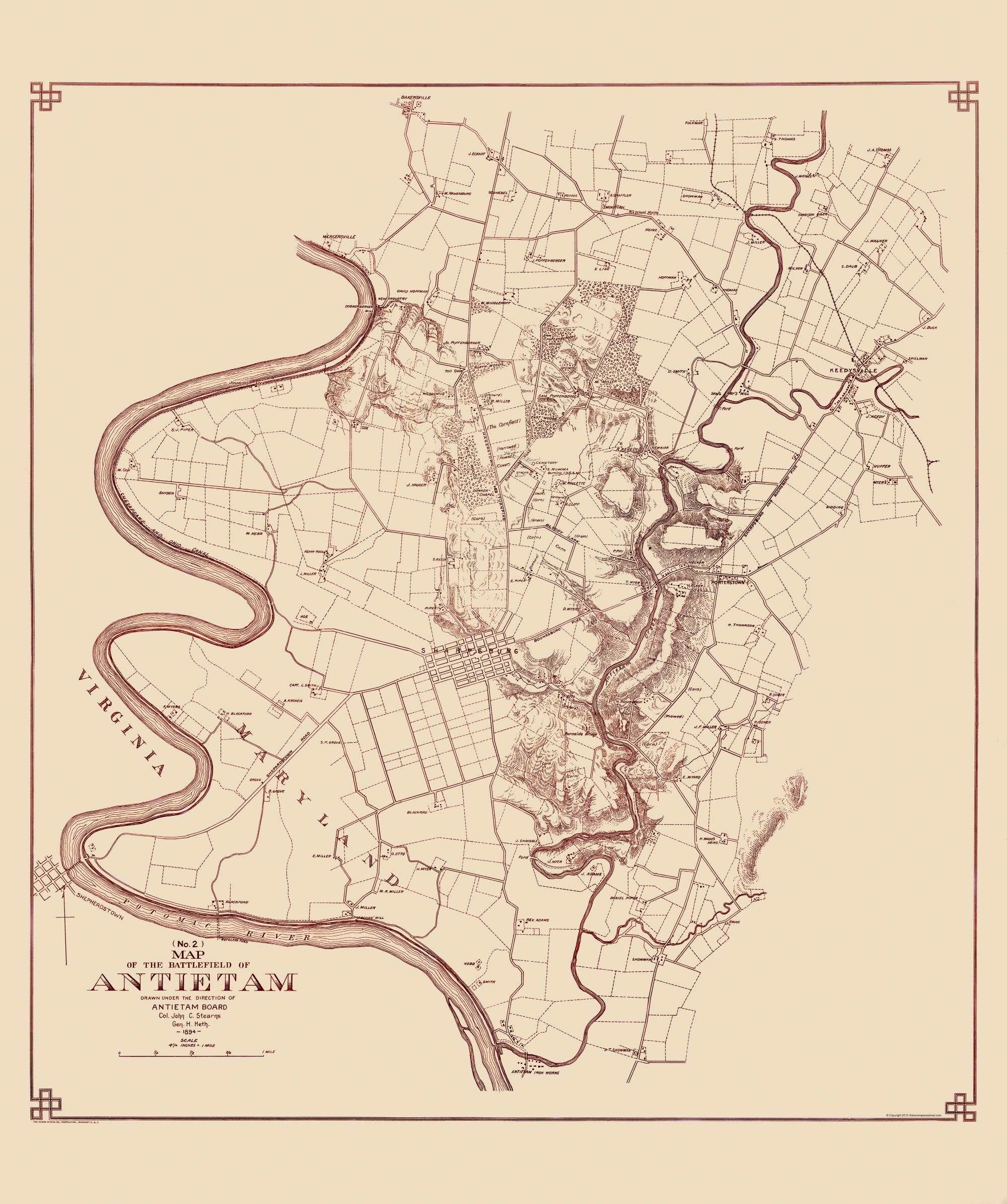 Civil War Map Antietam Battlefield Map No - Antietam battle us map