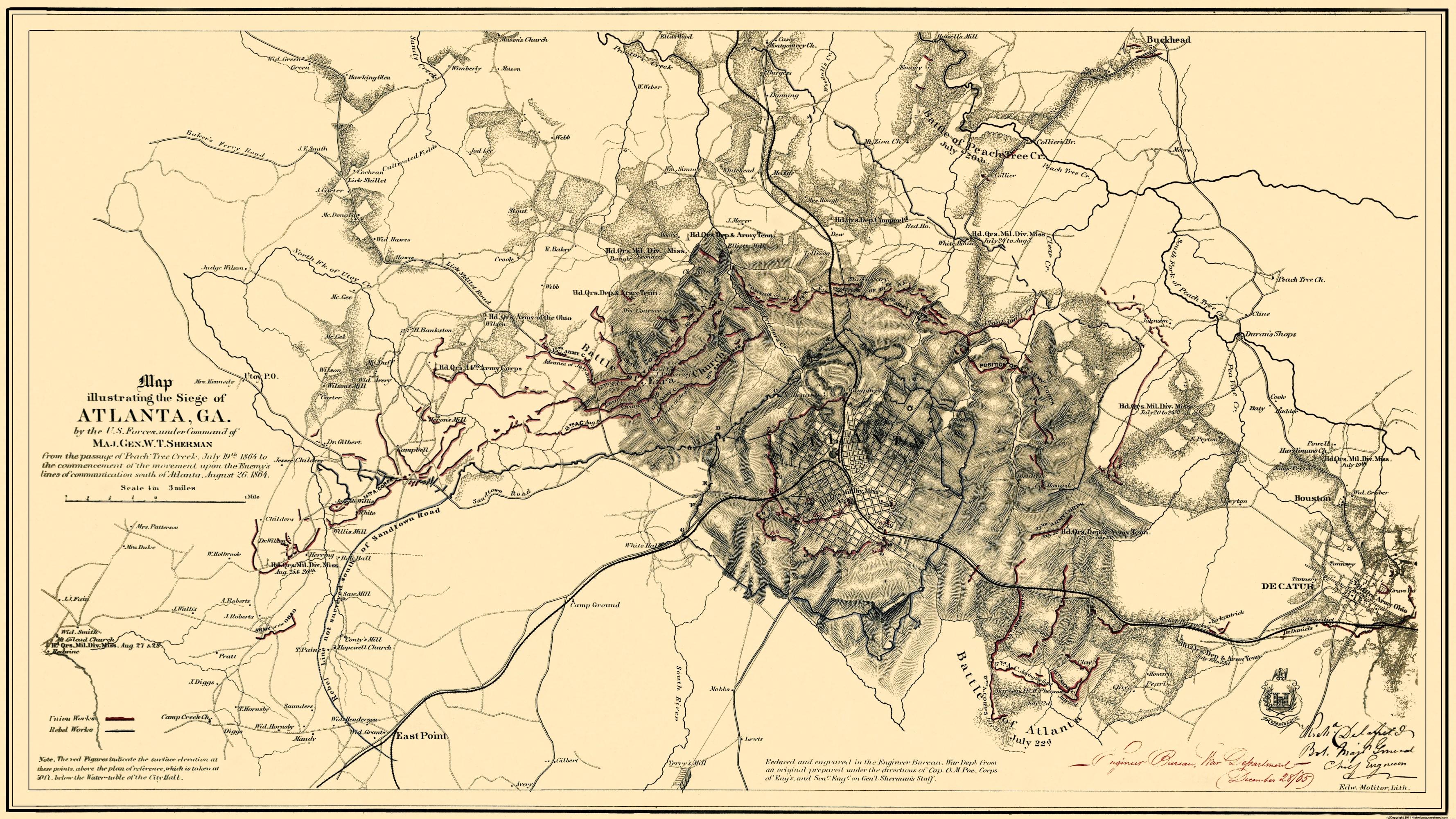 A Map Of Atlanta Georgia.Civil War Map Atlanta Siege Of Georgia 1865