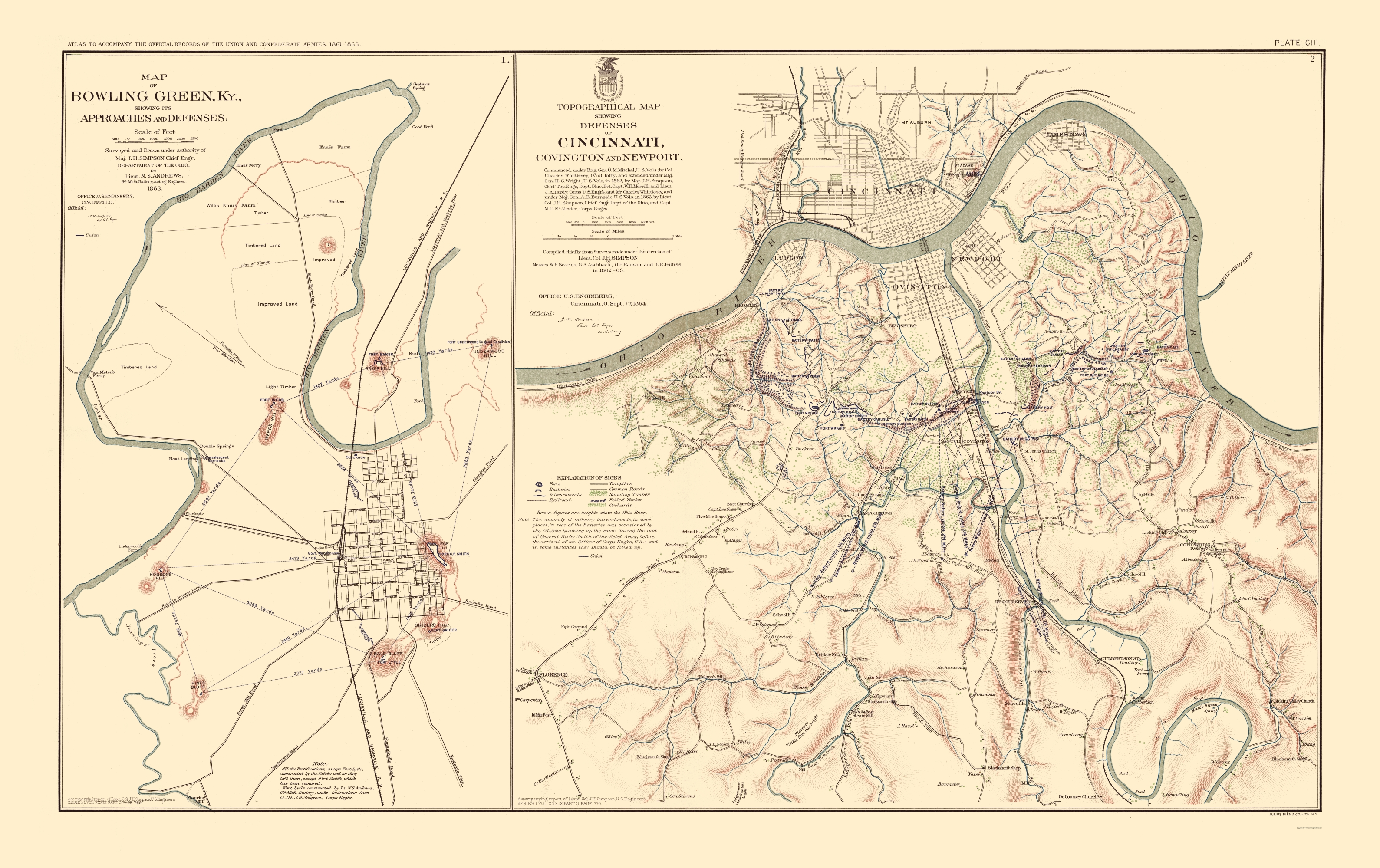 Civil War Map Bowling Green Defenses Approaches 1895