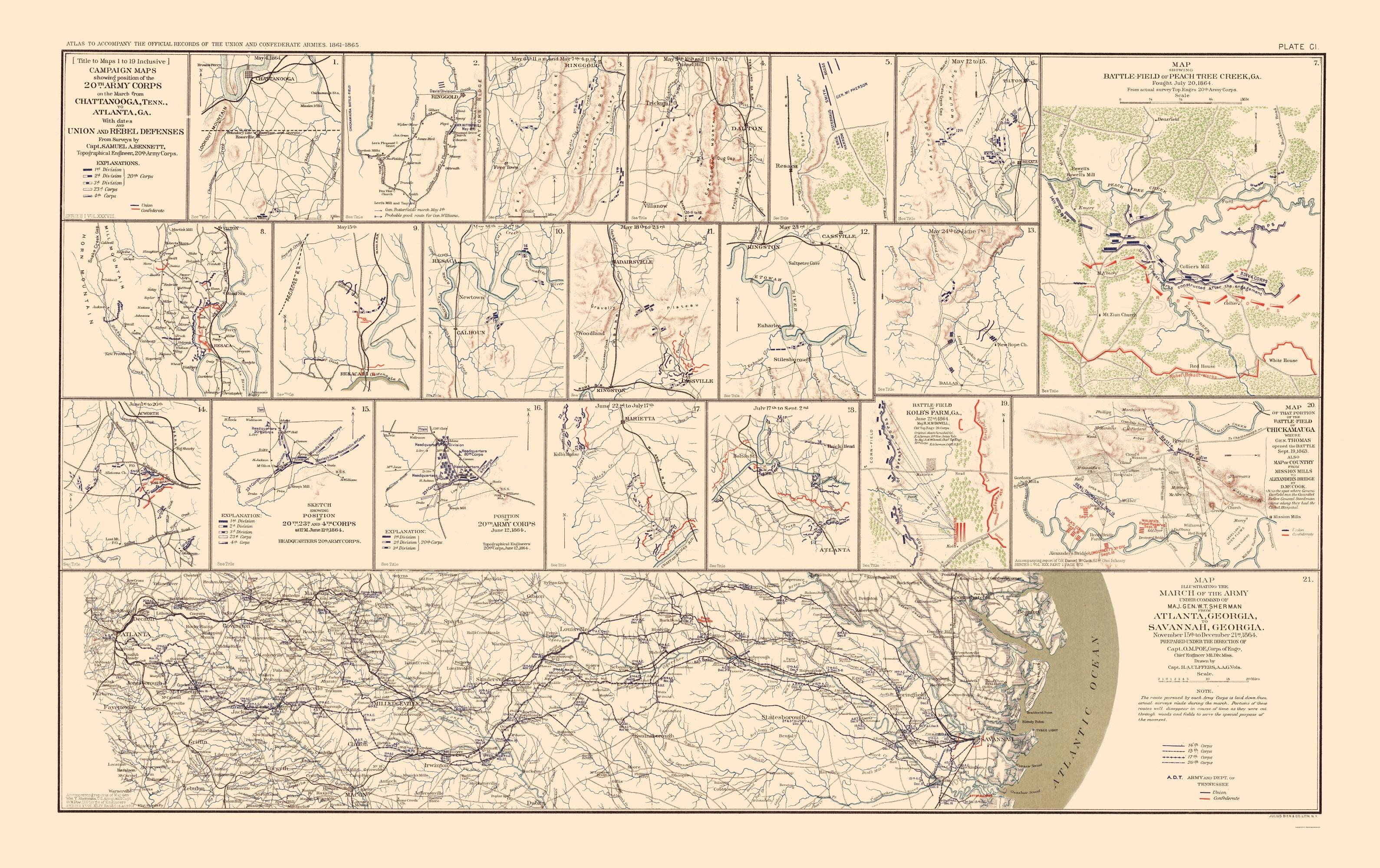 War Map Campaign Chattanooga Atlanta Savannah 1895