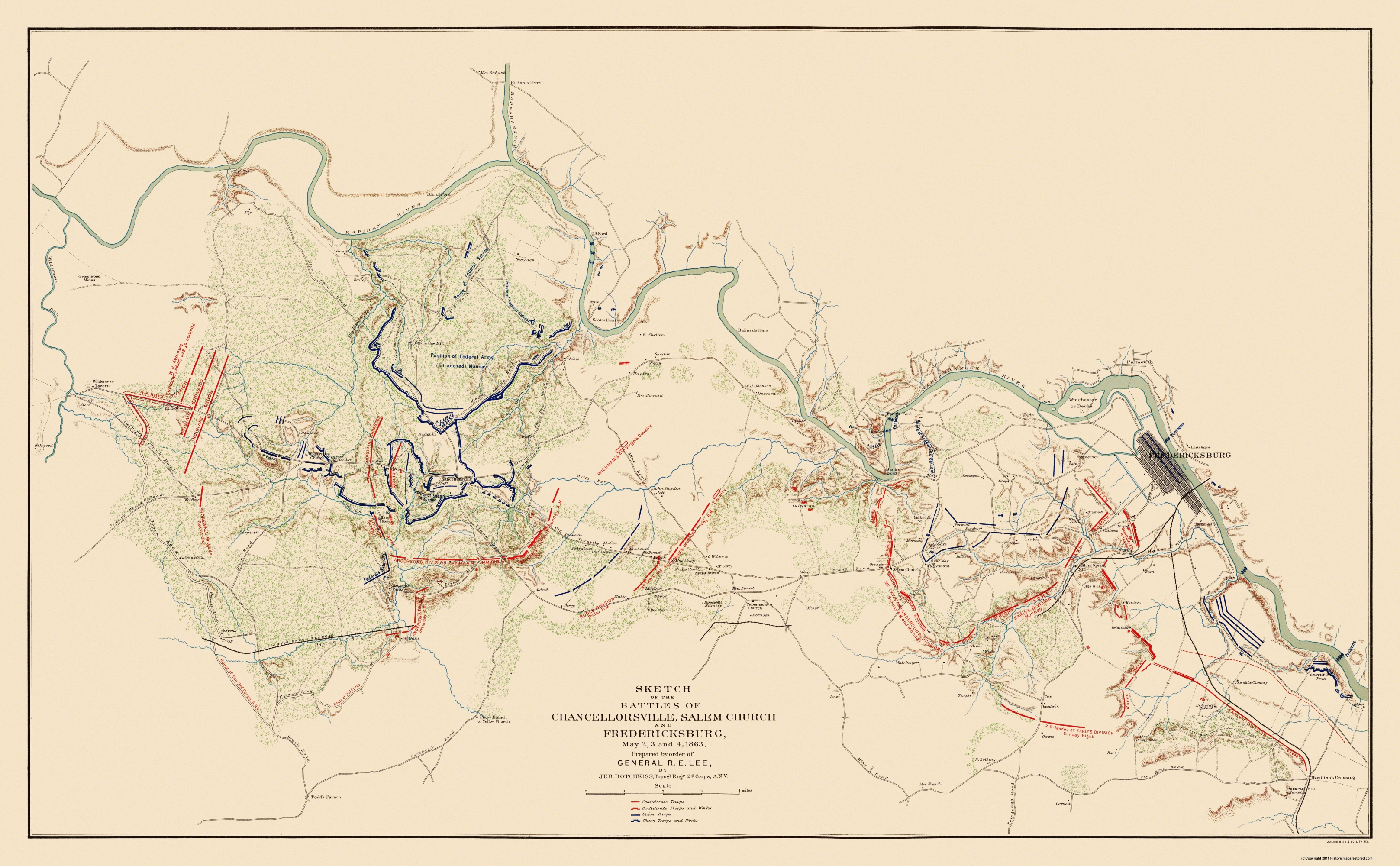 Civil War Map Chancellorsville Fredericksburg - Us map 1863