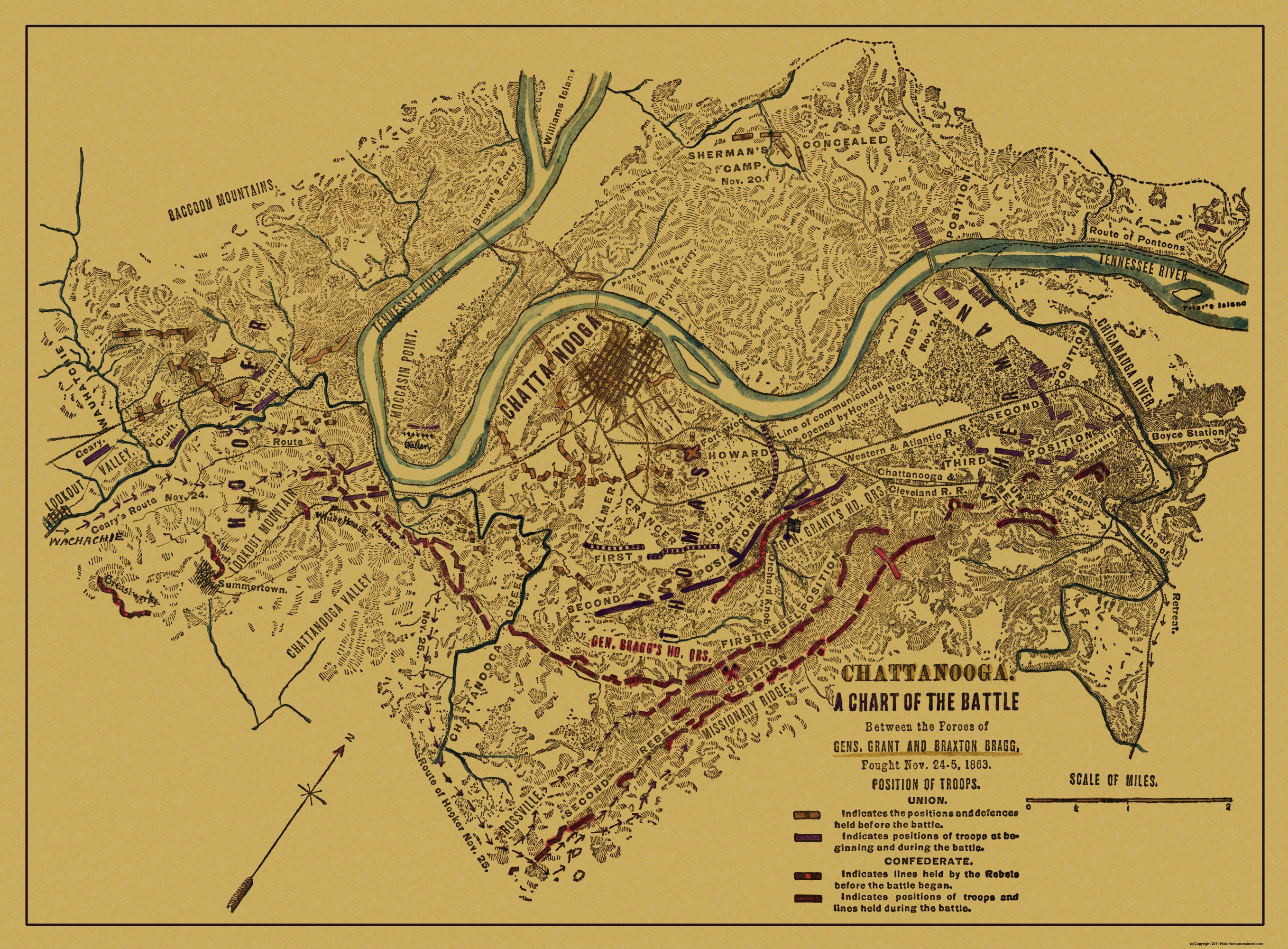 hover to zoom. civil war map  chattanooga battle tennessee