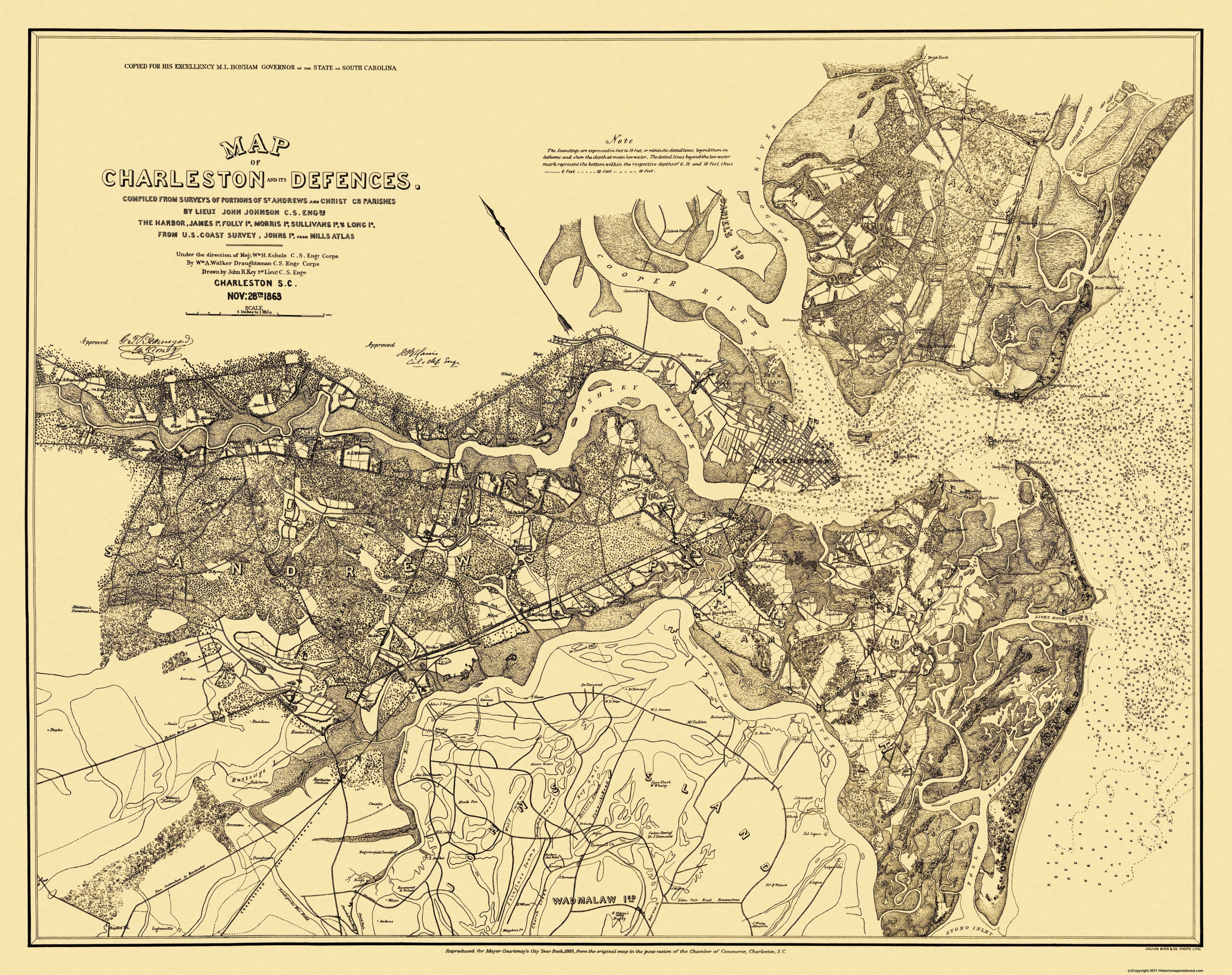 Civil War Map Charleston Defenses 1863