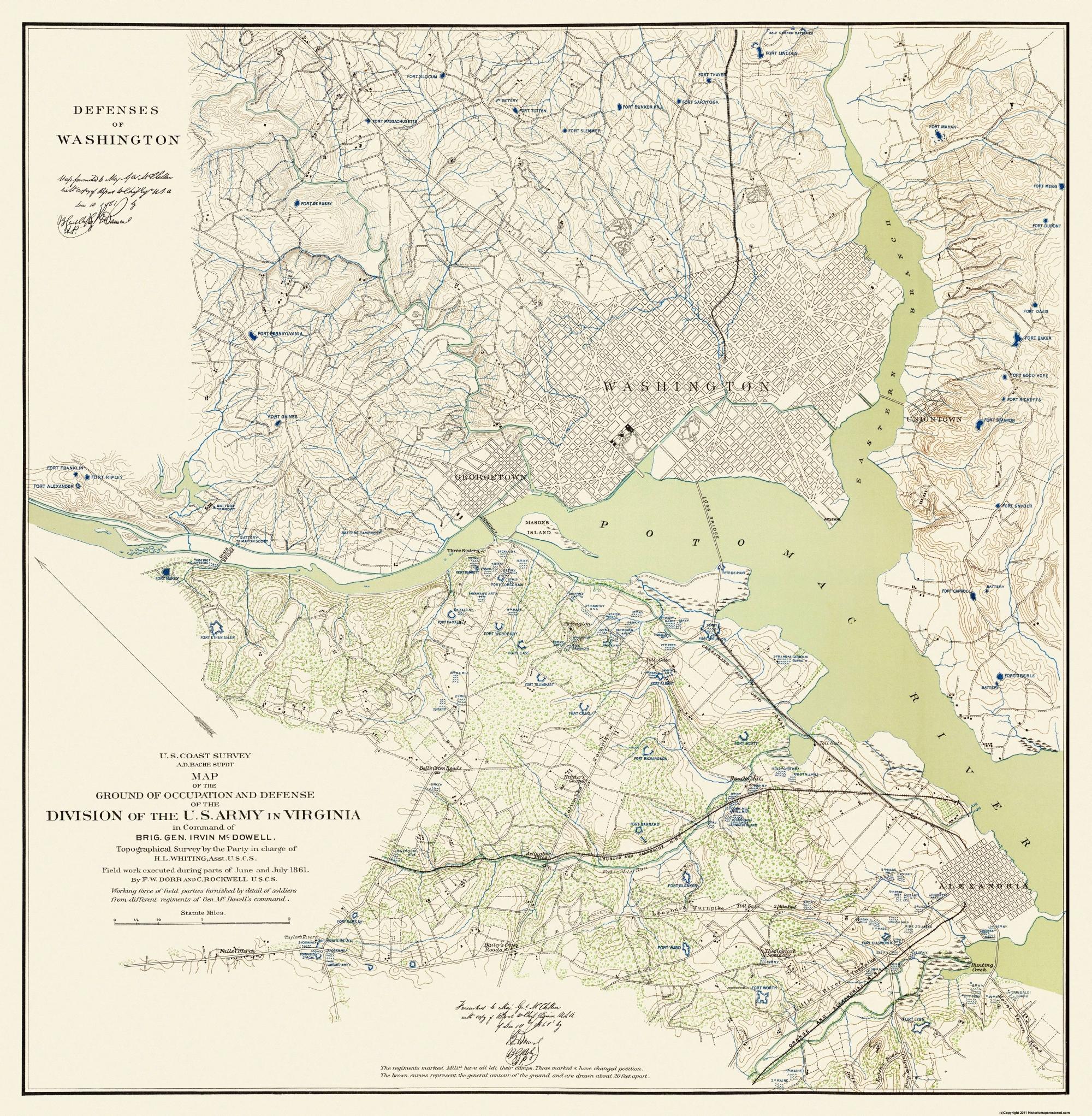 Civil War Map Print - Washington DC Defenses - 1861 - 23 x 23.5