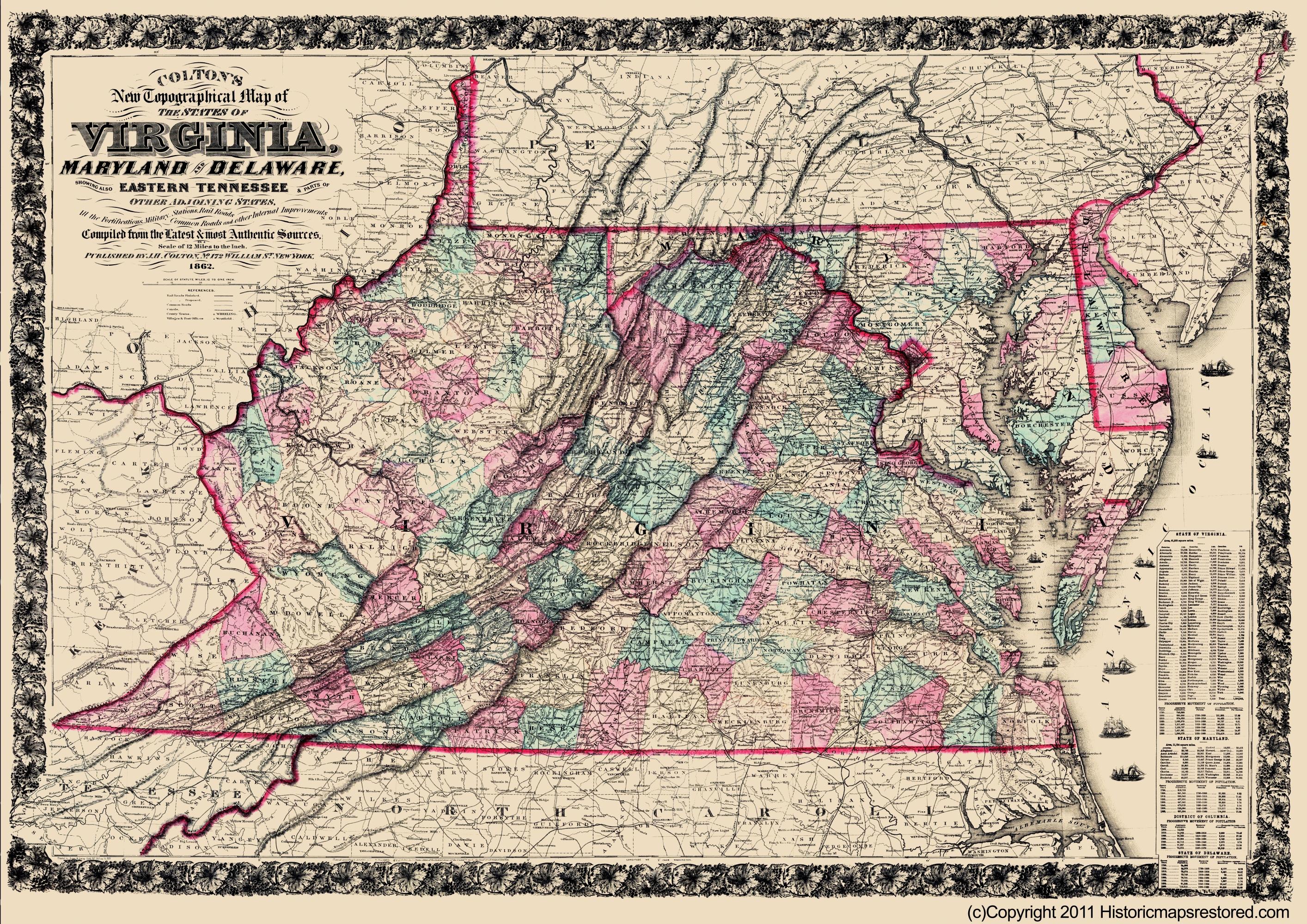 Civil War Map Print - Virginia, Maryland, Delaware - Colton 1862 - 23 x  32 52