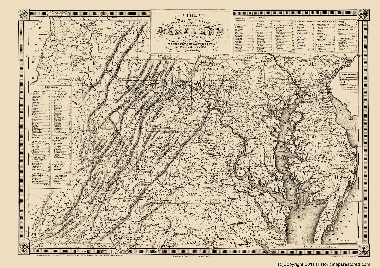Civil War Map Print - Delaware, Maryland, PA, VA - Lucas 1863 - 23 x 32.58