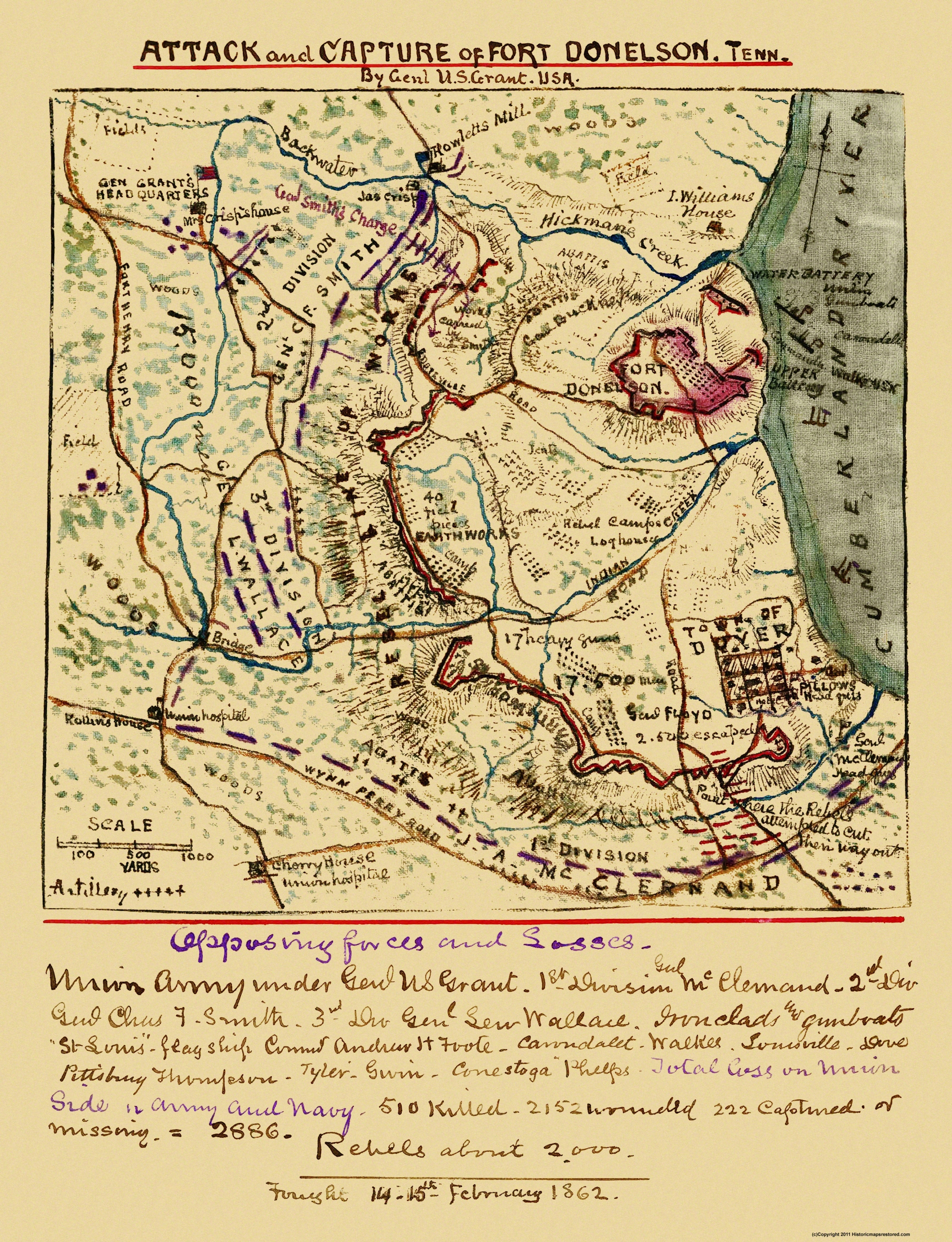Civil War Map Ft Donelson Tennessee - Ft donelson river on us map