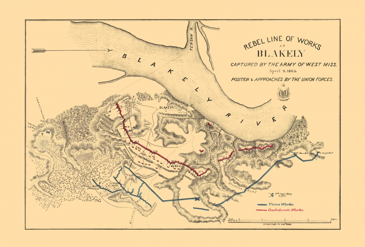 Civil War Map Fort Blakely Battle 1865 - Map-of-us-in-1865
