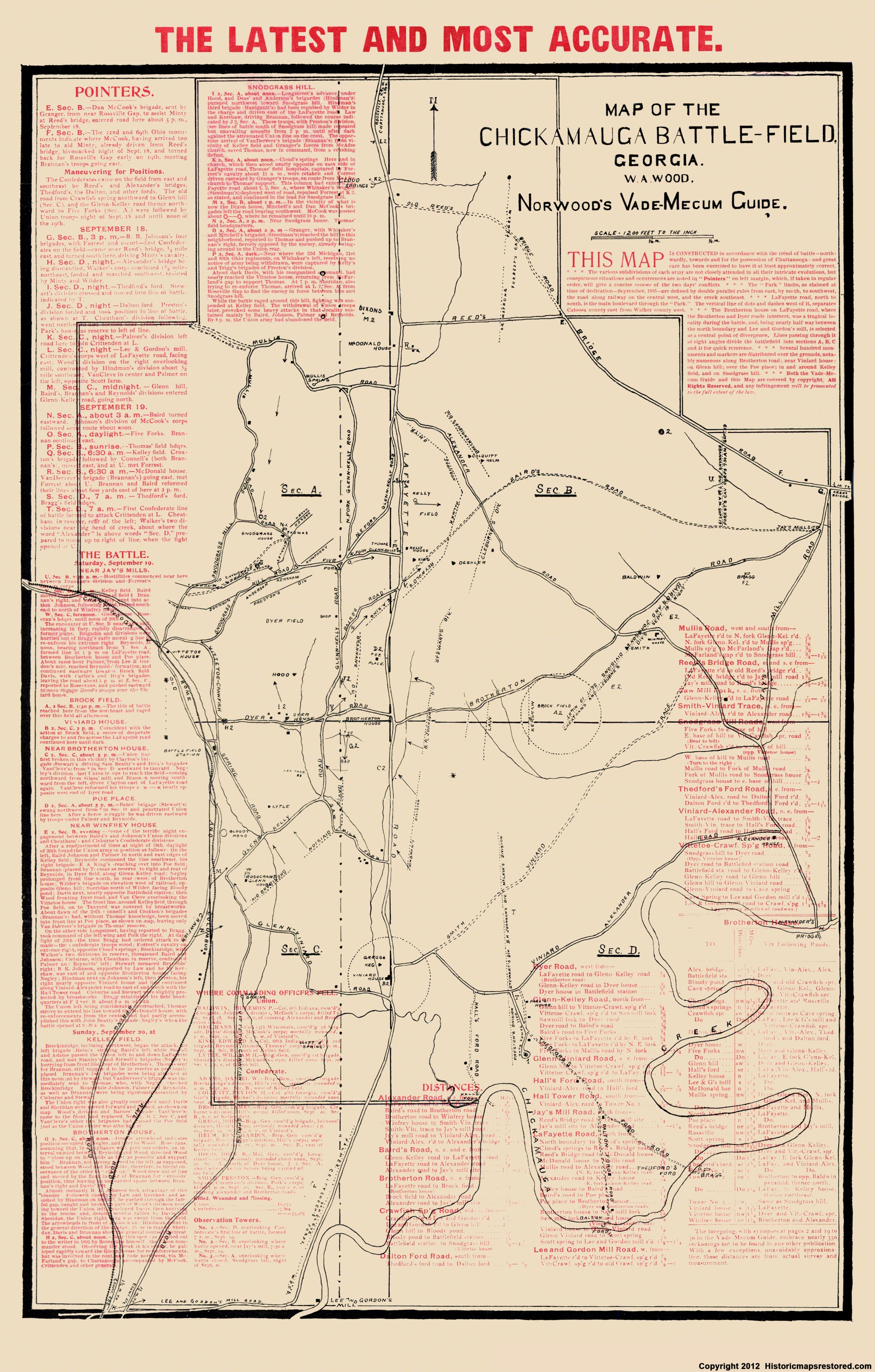 Civil War Map Chickamauga Battlefield - Battle of chickamauga map