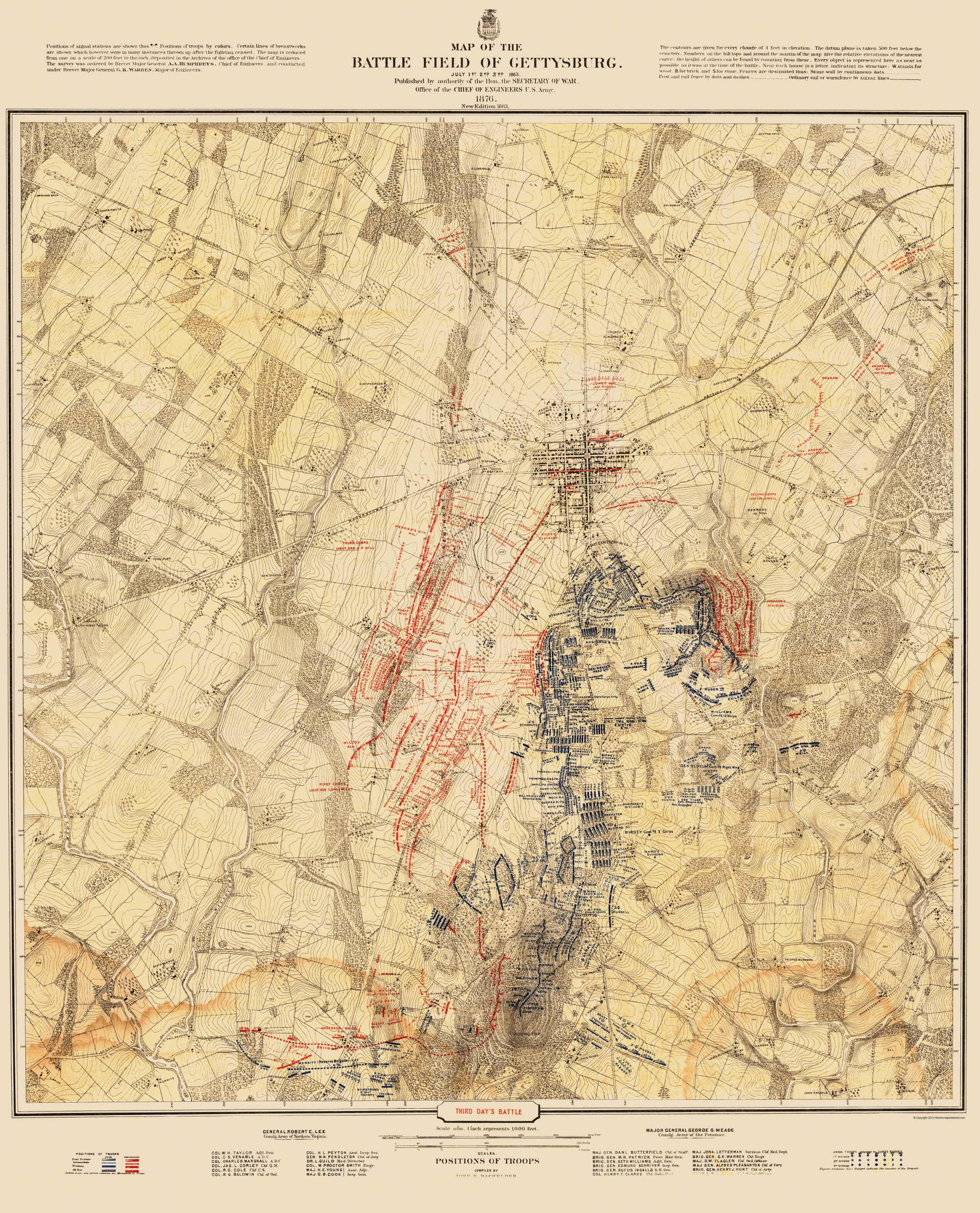 Civil war map gettysburg 3rd days battle 1876 double tap to zoom gumiabroncs Choice Image