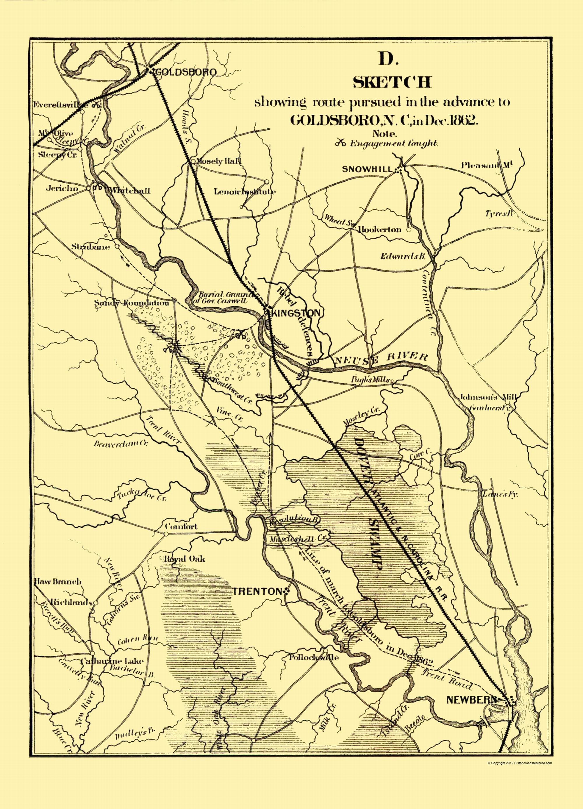 Civil War Map - Goldsboro NC Advance 1866 on