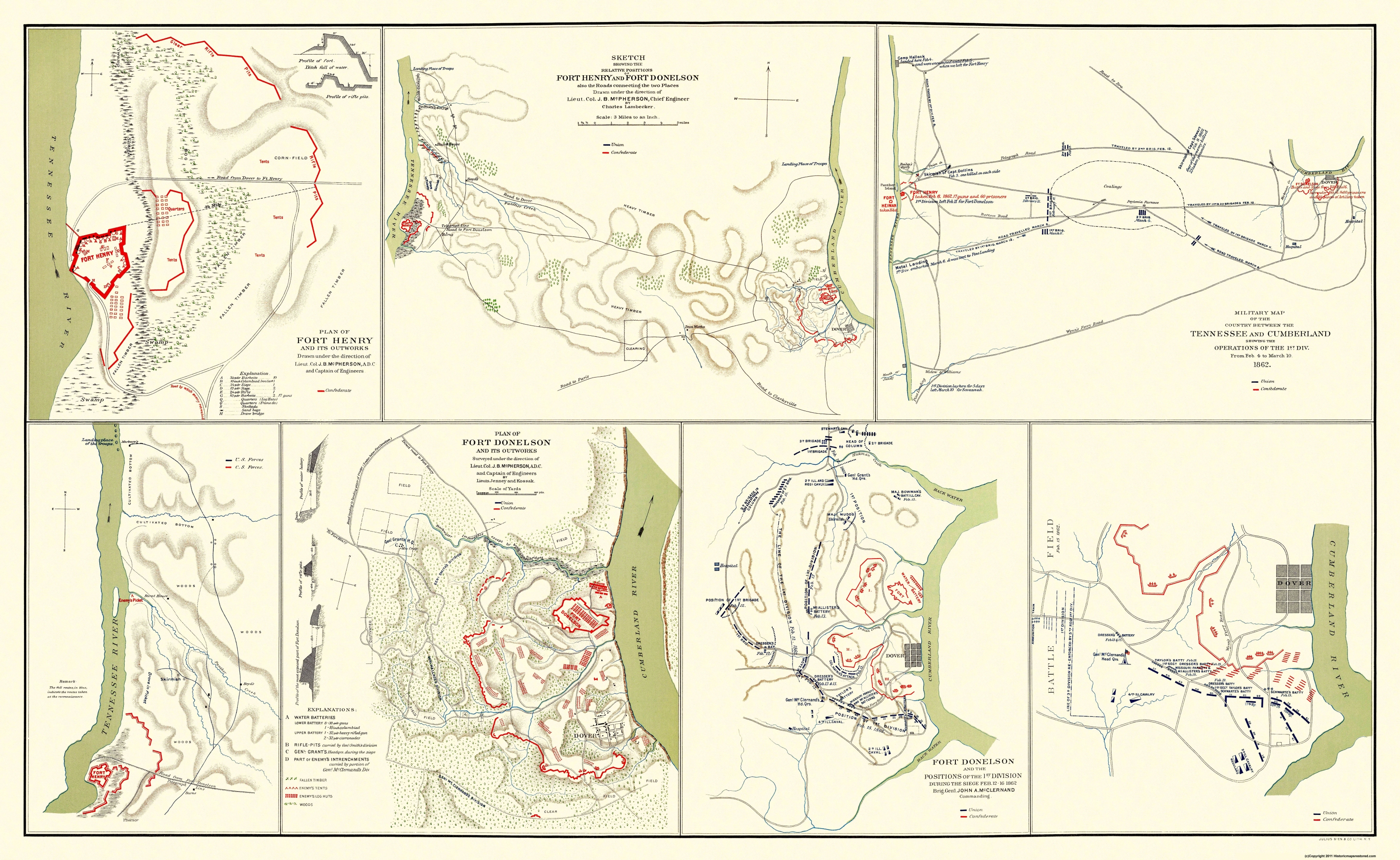 Civil War Map Fort Donelson Fort Henry Tennesse - Ft donelson river on us map