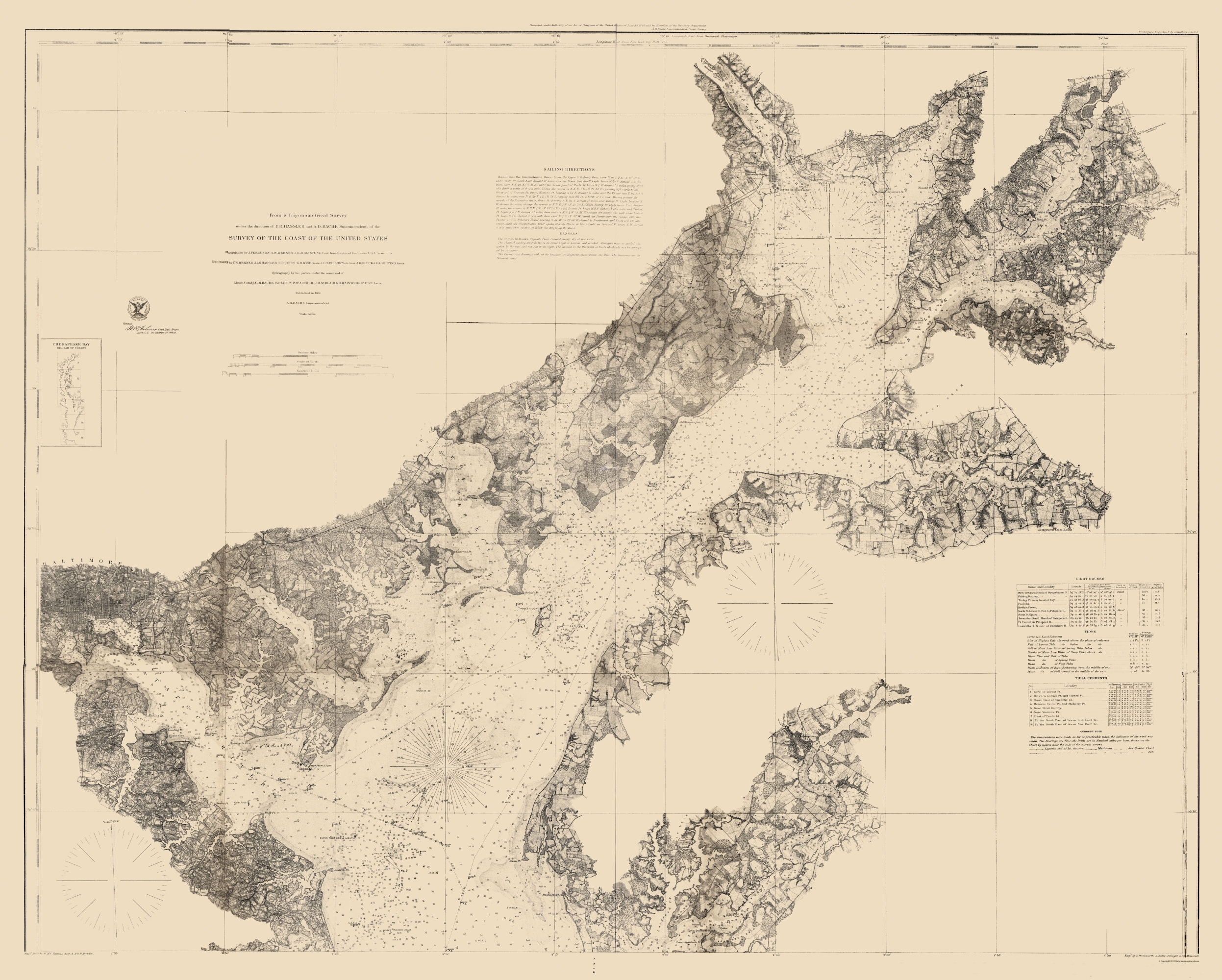 Civil War Map - Chesapeake Bay Nautical Chart 1861