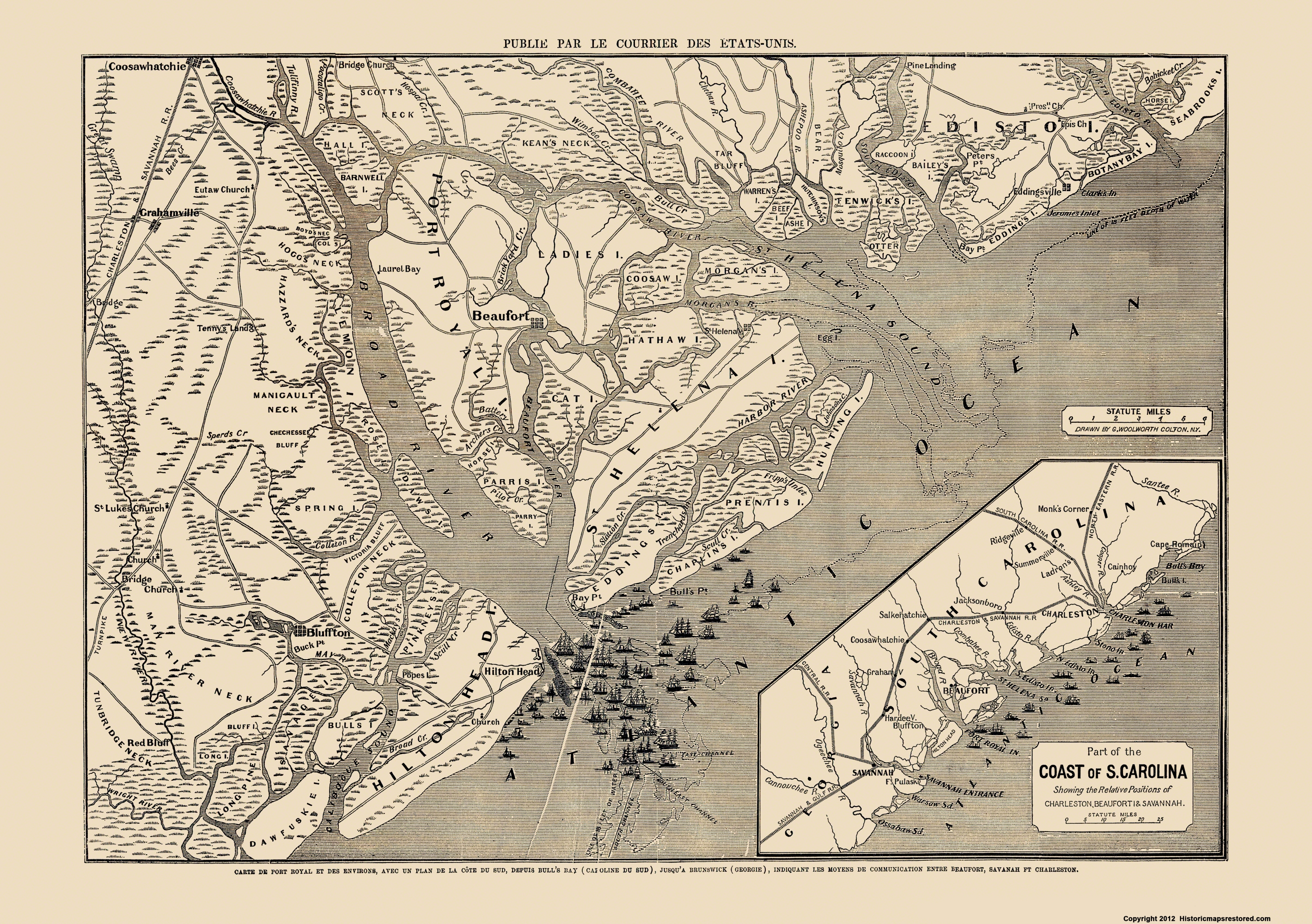 picture about Printable Maps of South Carolina identified as Civil War Map Print - South Carolina - Colton 1860s - 23 x 32.65