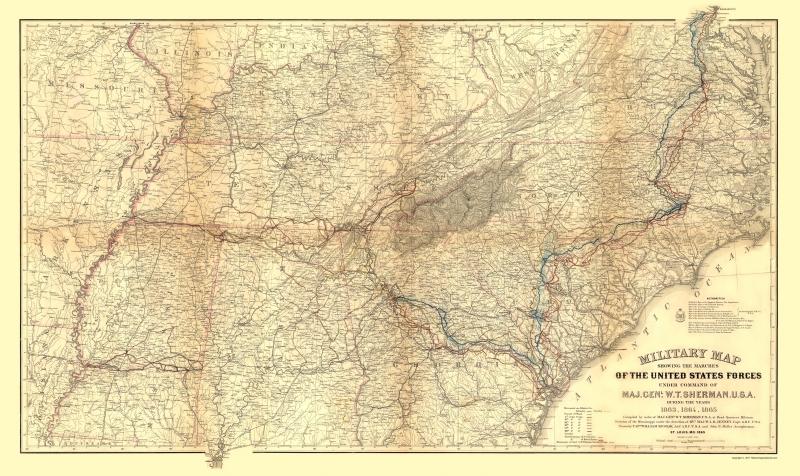 Muller  1865-23 x 38.66 Civil War Map Print Militia of Shermans Marches