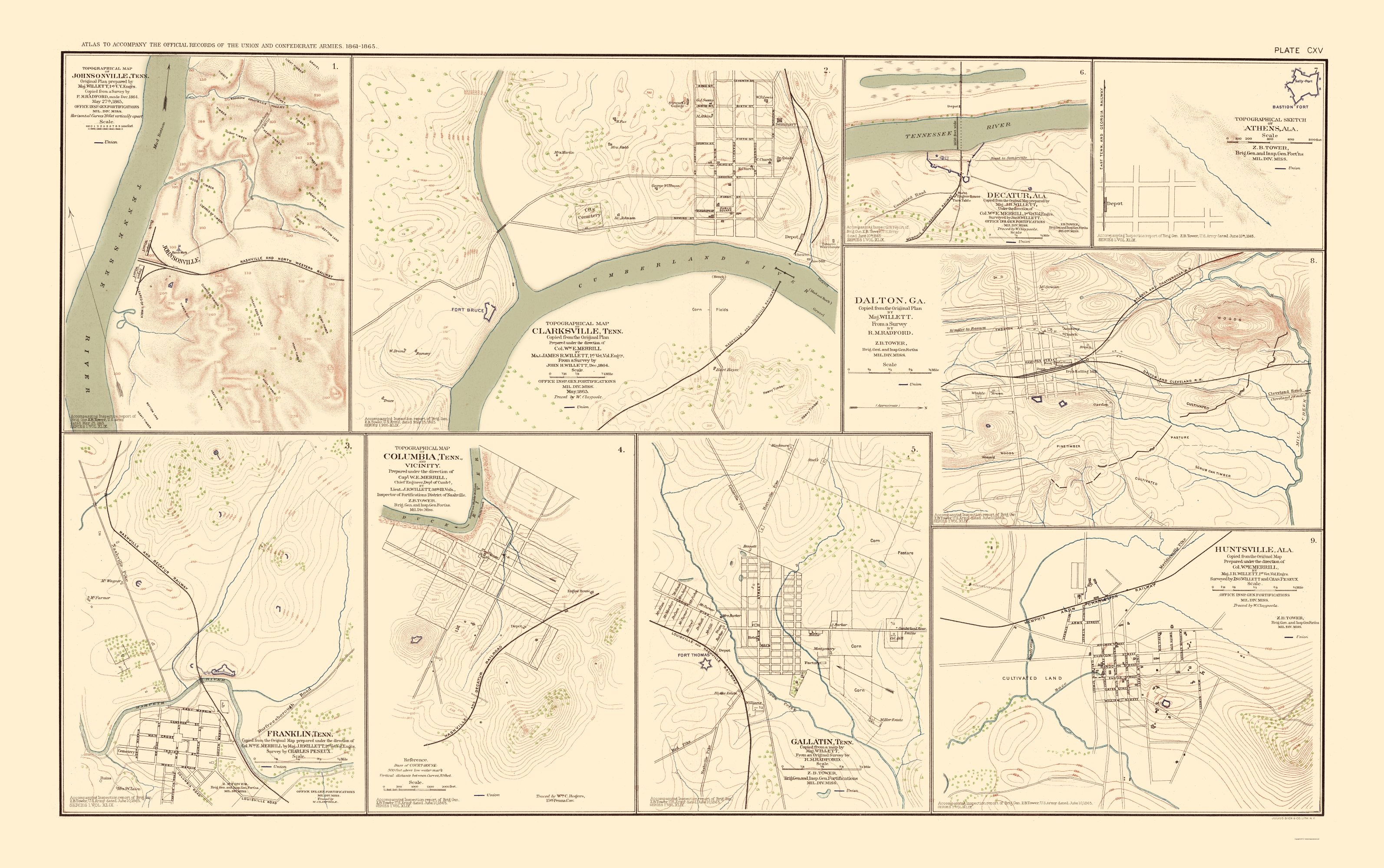 Civil War Map - Tennessee, Alabama & Georgia Cities 1895