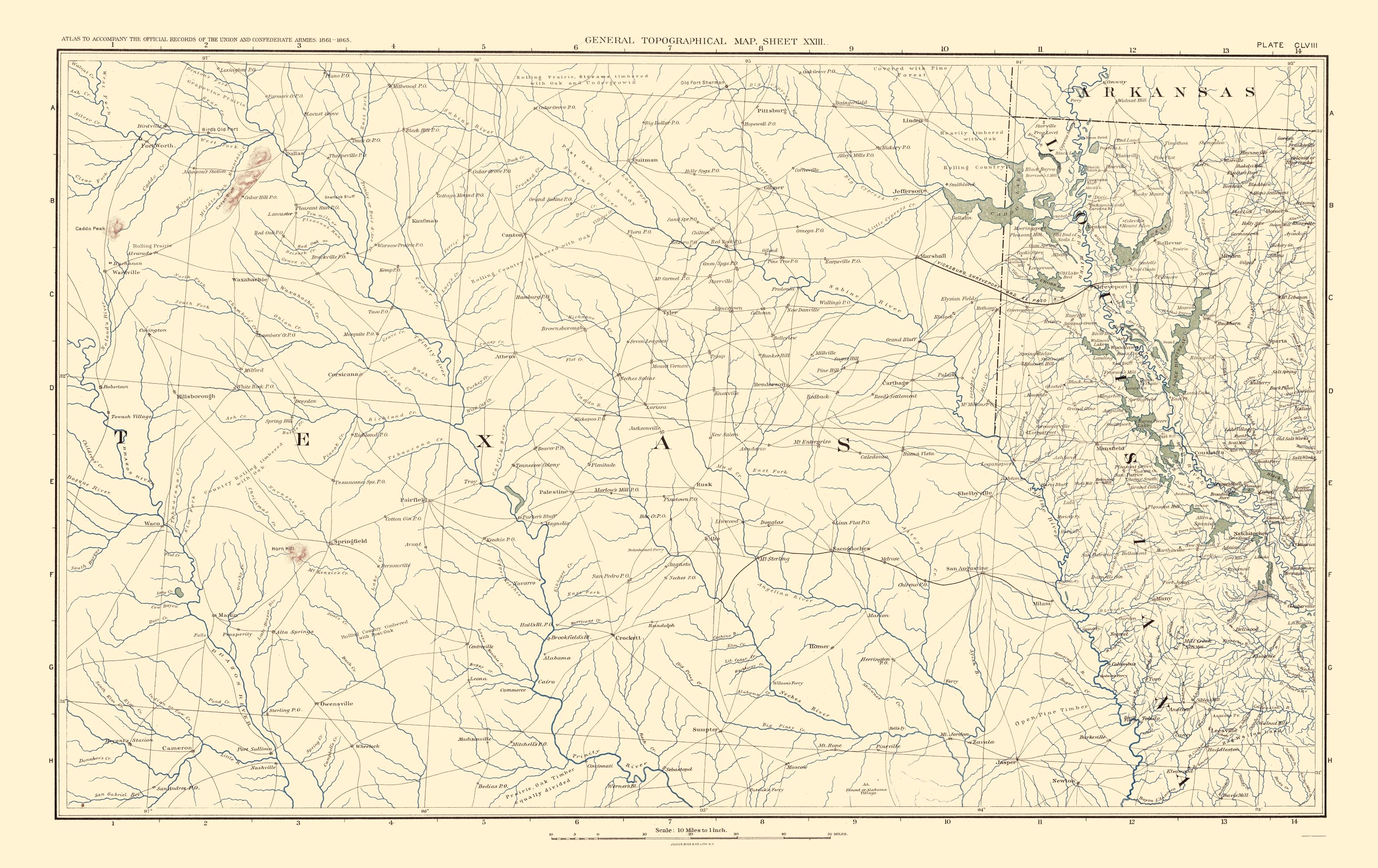 Map Of Texas Louisiana.Civil War Map Print Texas Louisiana Arkansas Bien 1895 23 X 36 51
