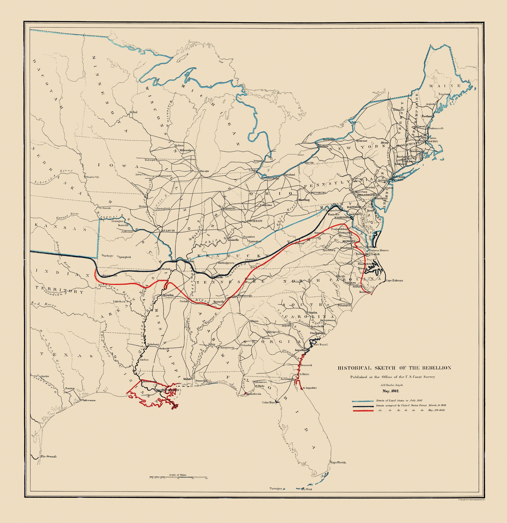 Civil War Map Historical Sketch Rebellion May - Cumberland river on us map