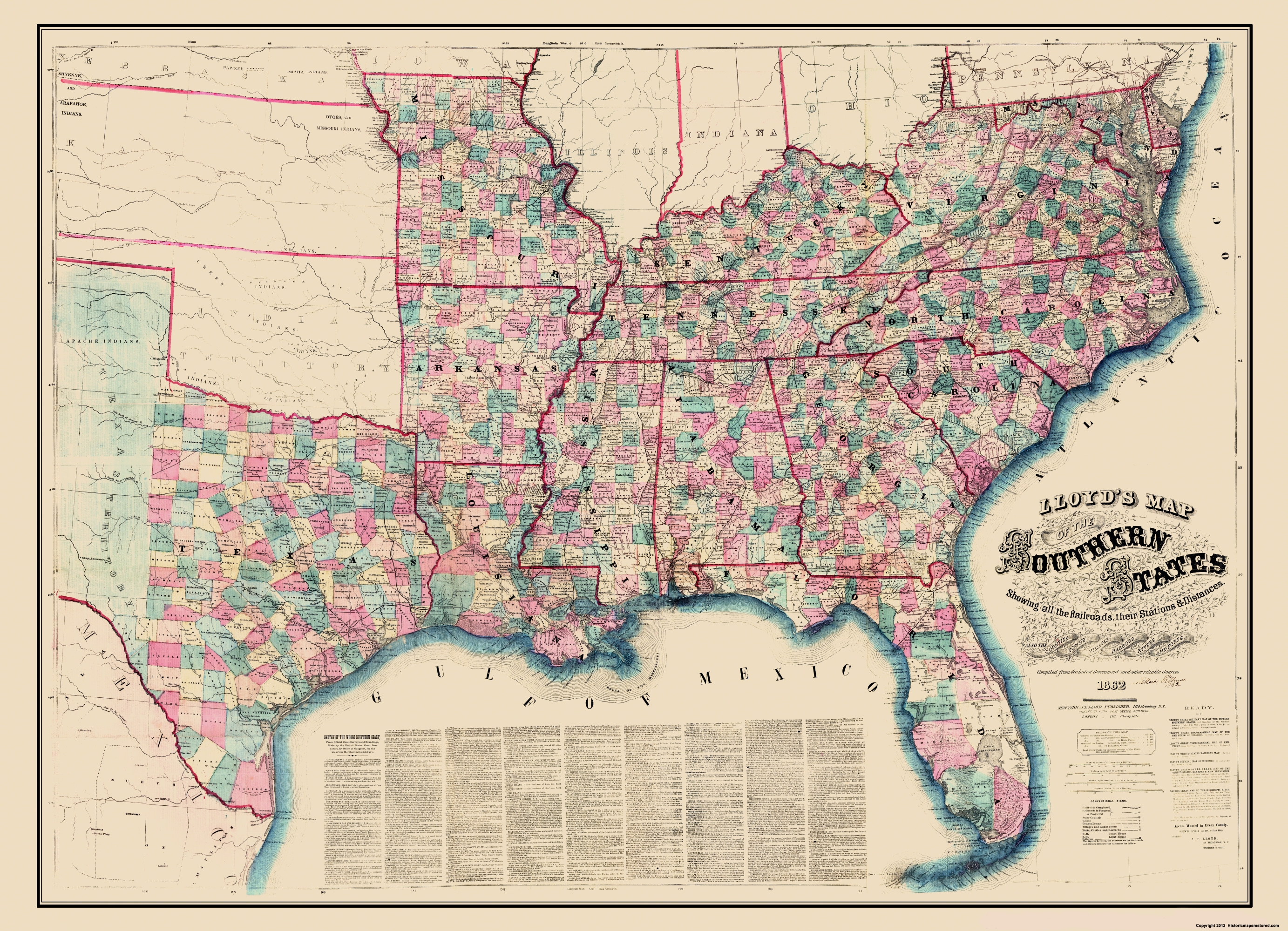 Civil War Map Southern State Railroad Stations - Map southern states us