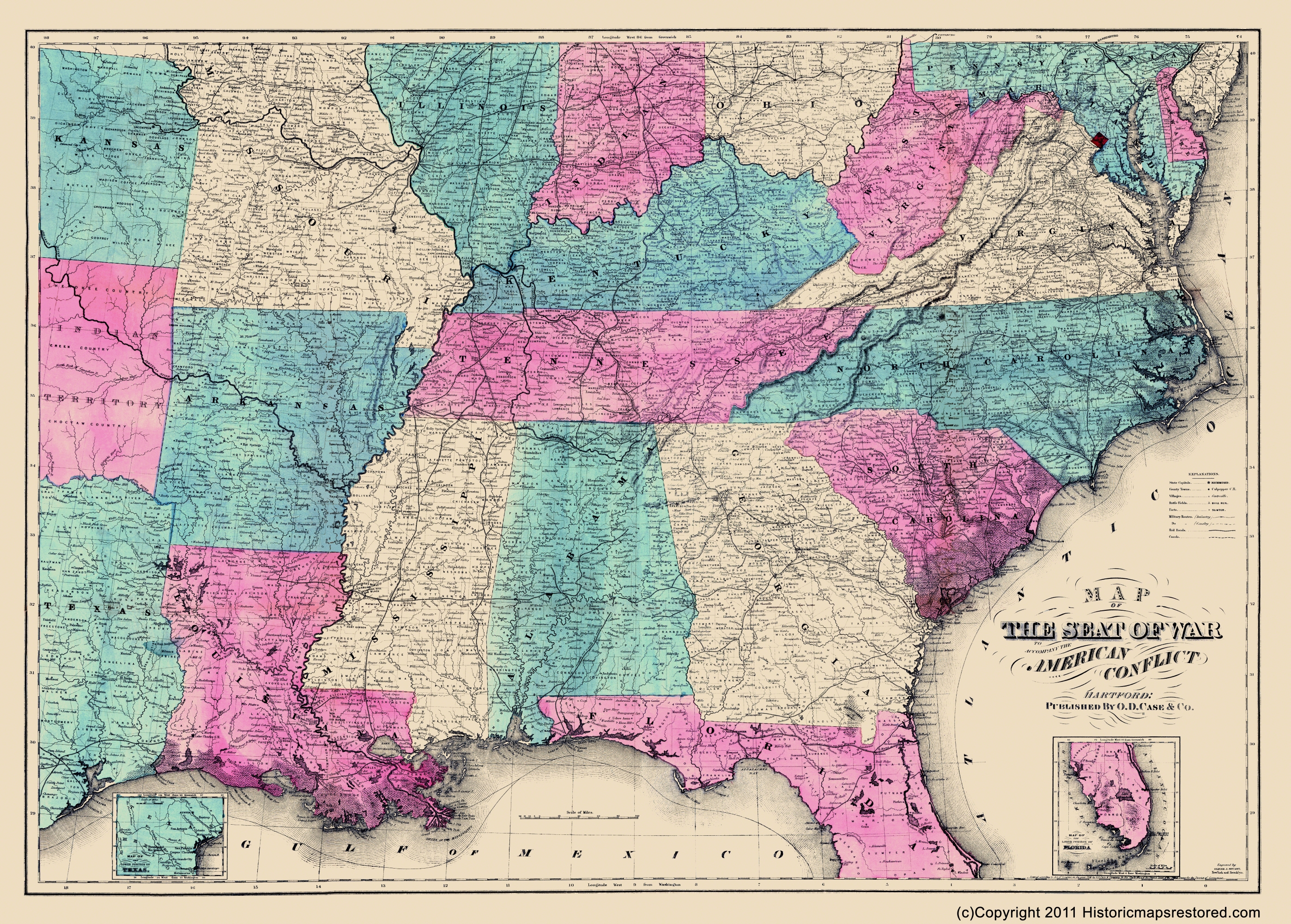 Civil War Map Seat Of War American Conflict 1865 - Map-of-us-in-1865