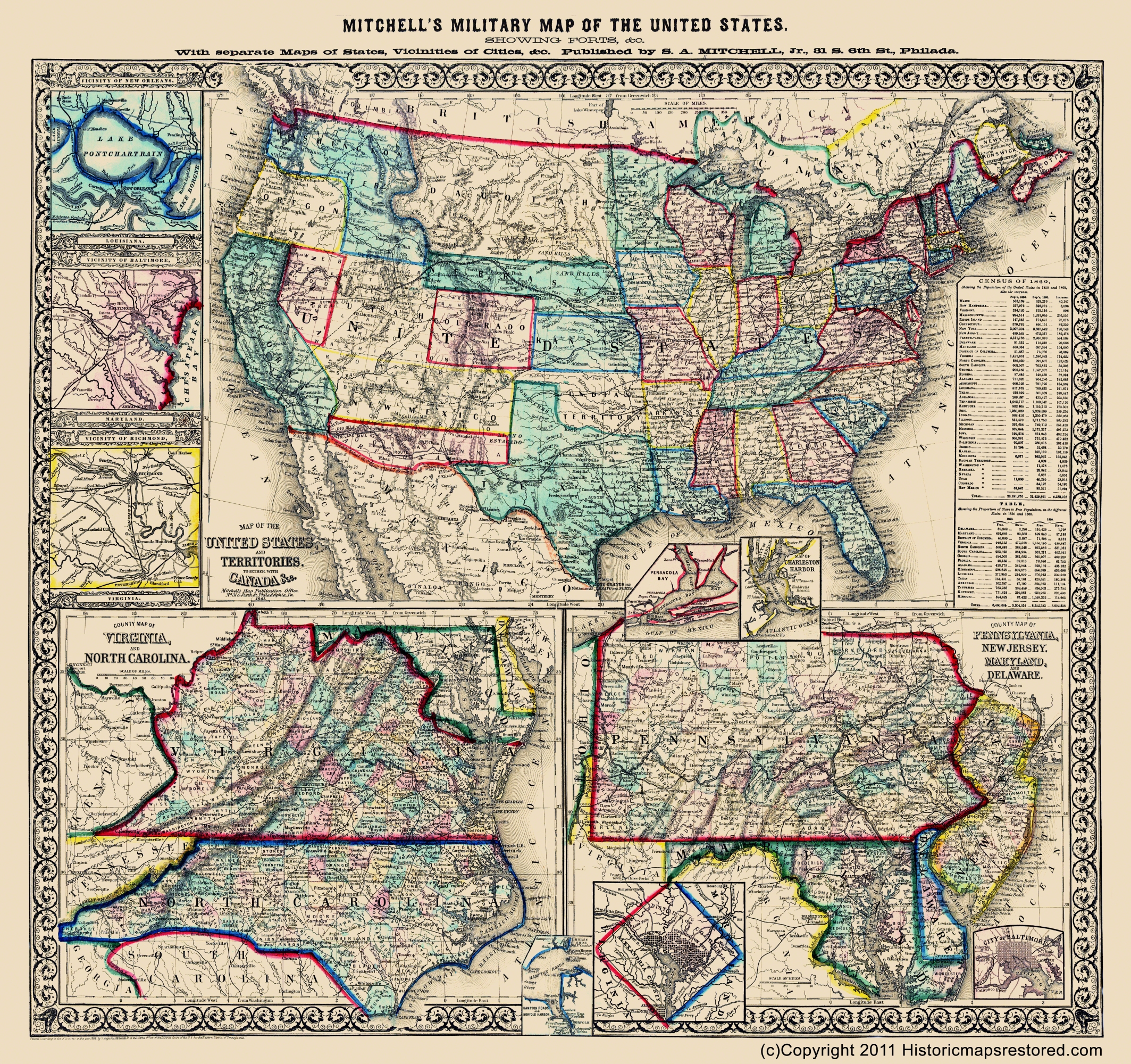 Civil War Map Military Map Of The Us 1861 - Map-of-the-us-in-1861
