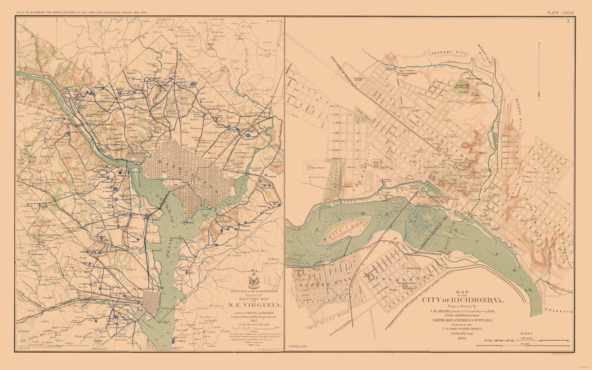 Civil War Maps Washington Defenses Richmond Virginia