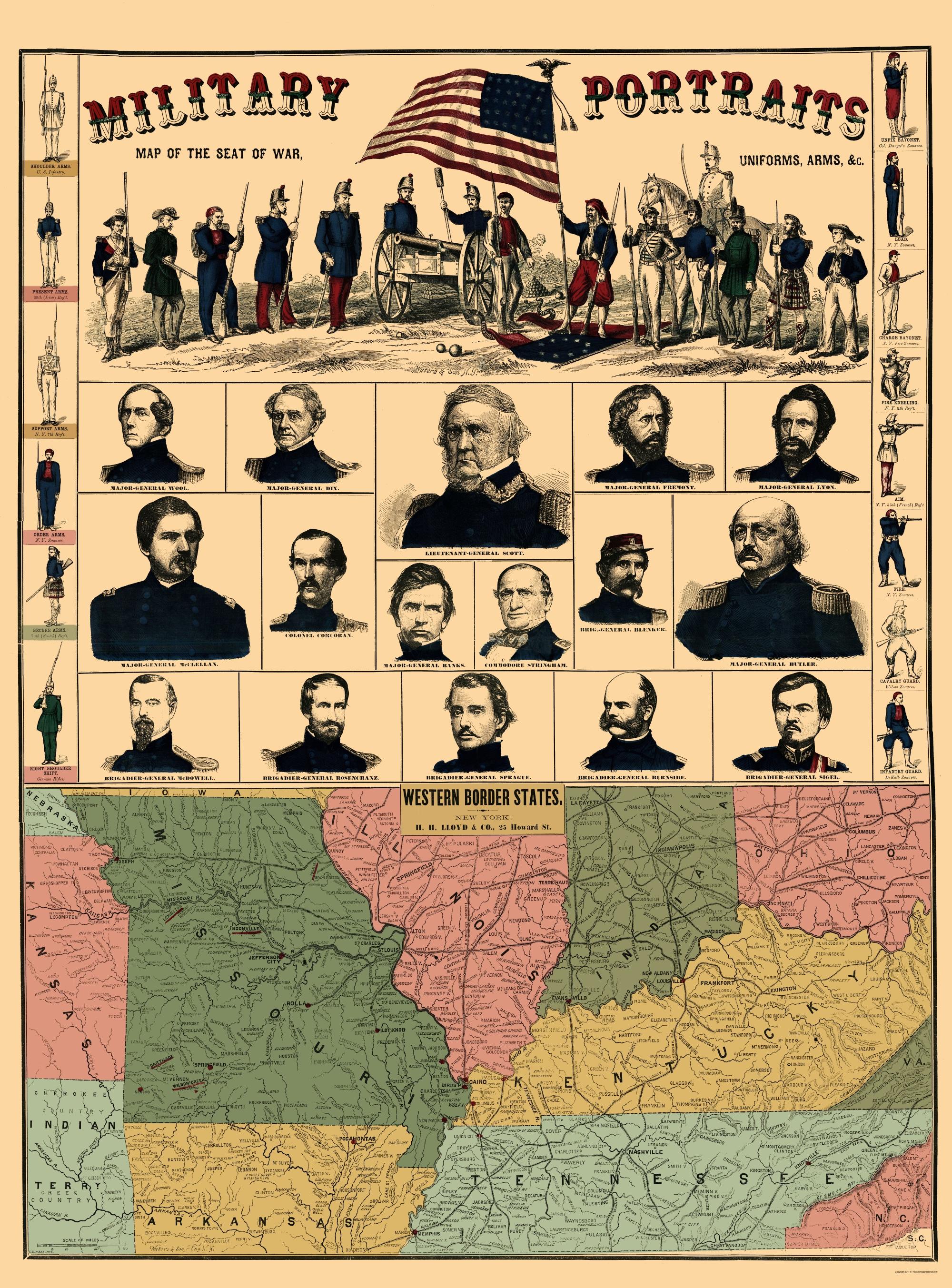 Civil War Map Border States Military Portraits 1861