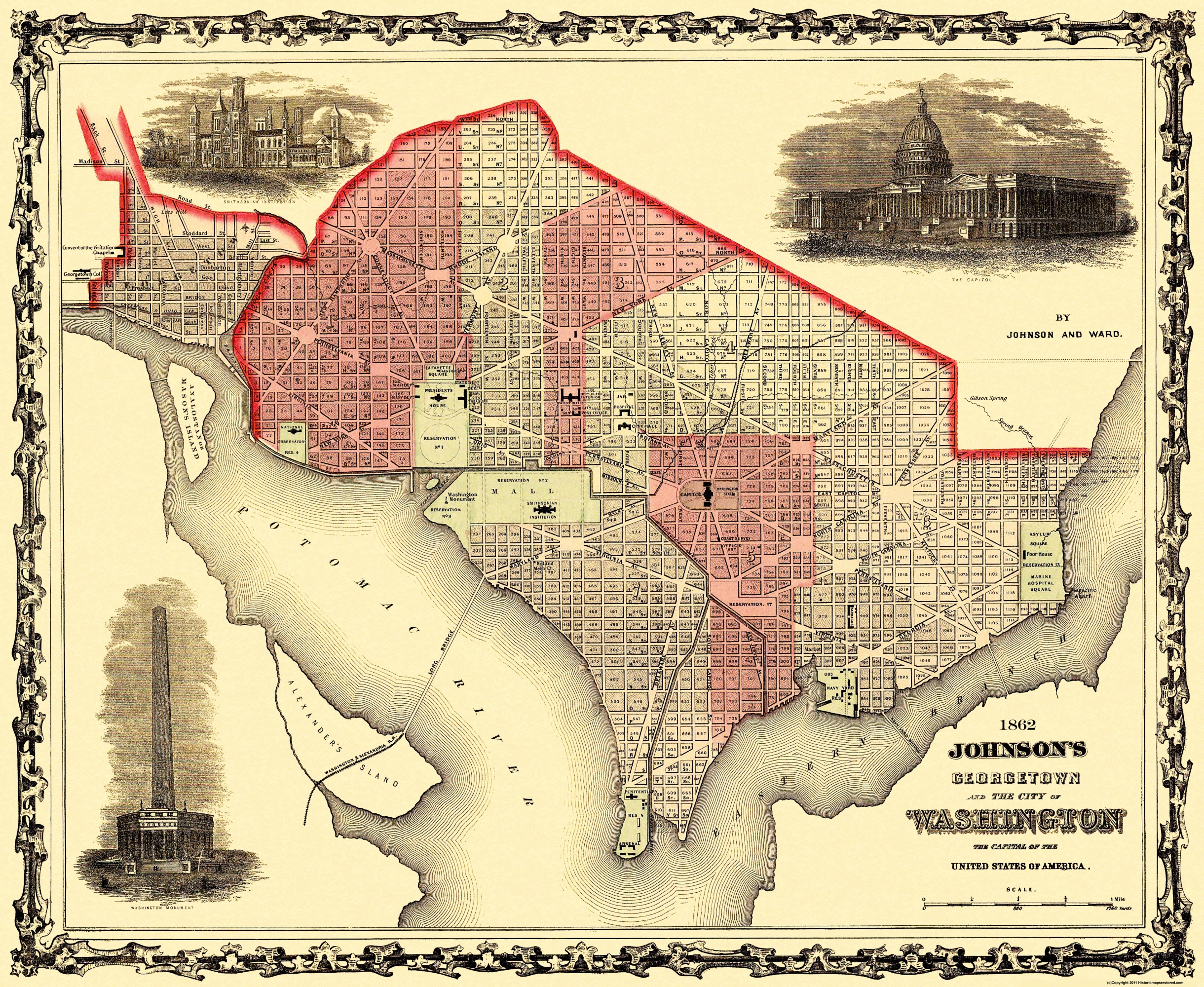 Old City Map Georgetown Washington DC Johnson - Us map 1862