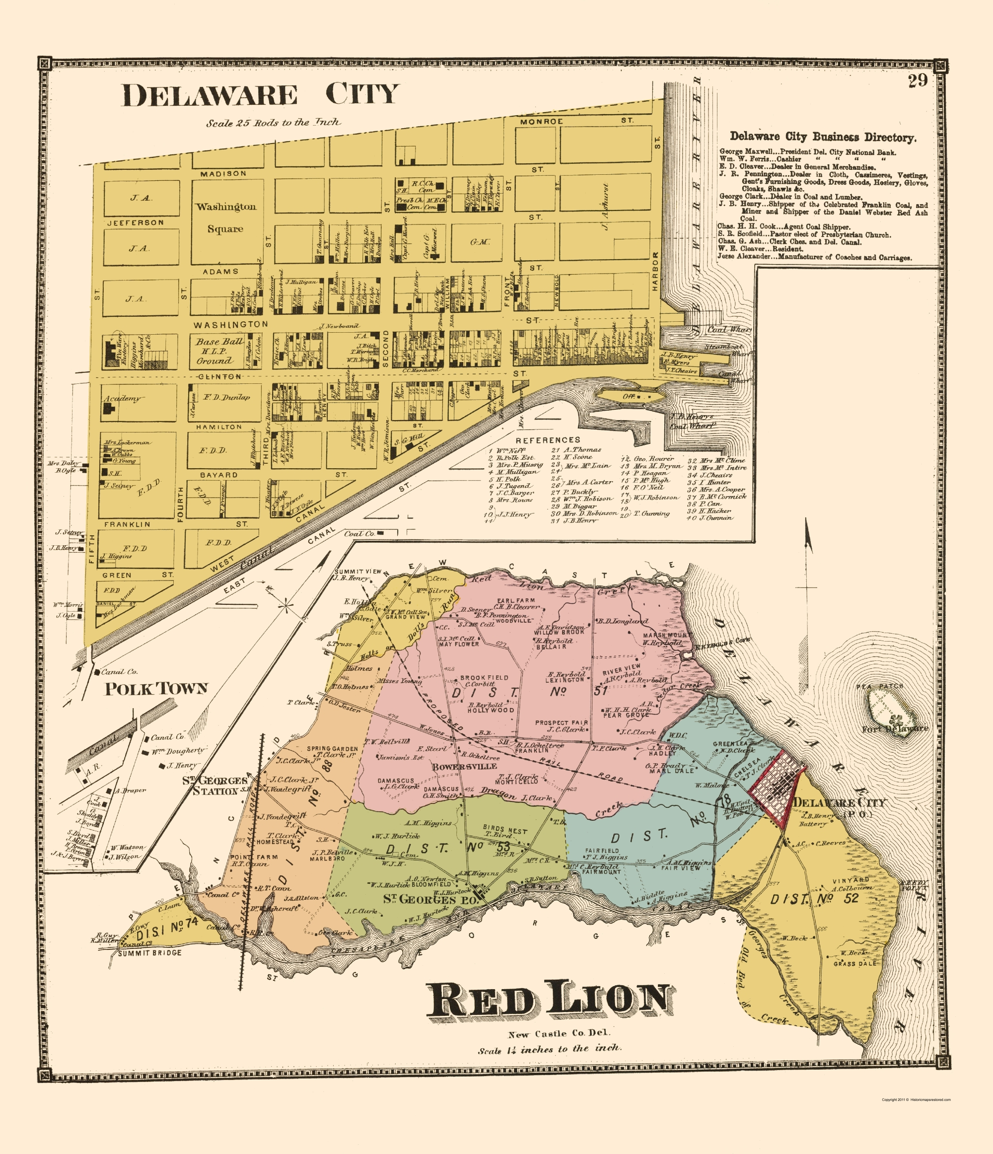Old Map Delaware City Red Lion Delaware Landowner 1868